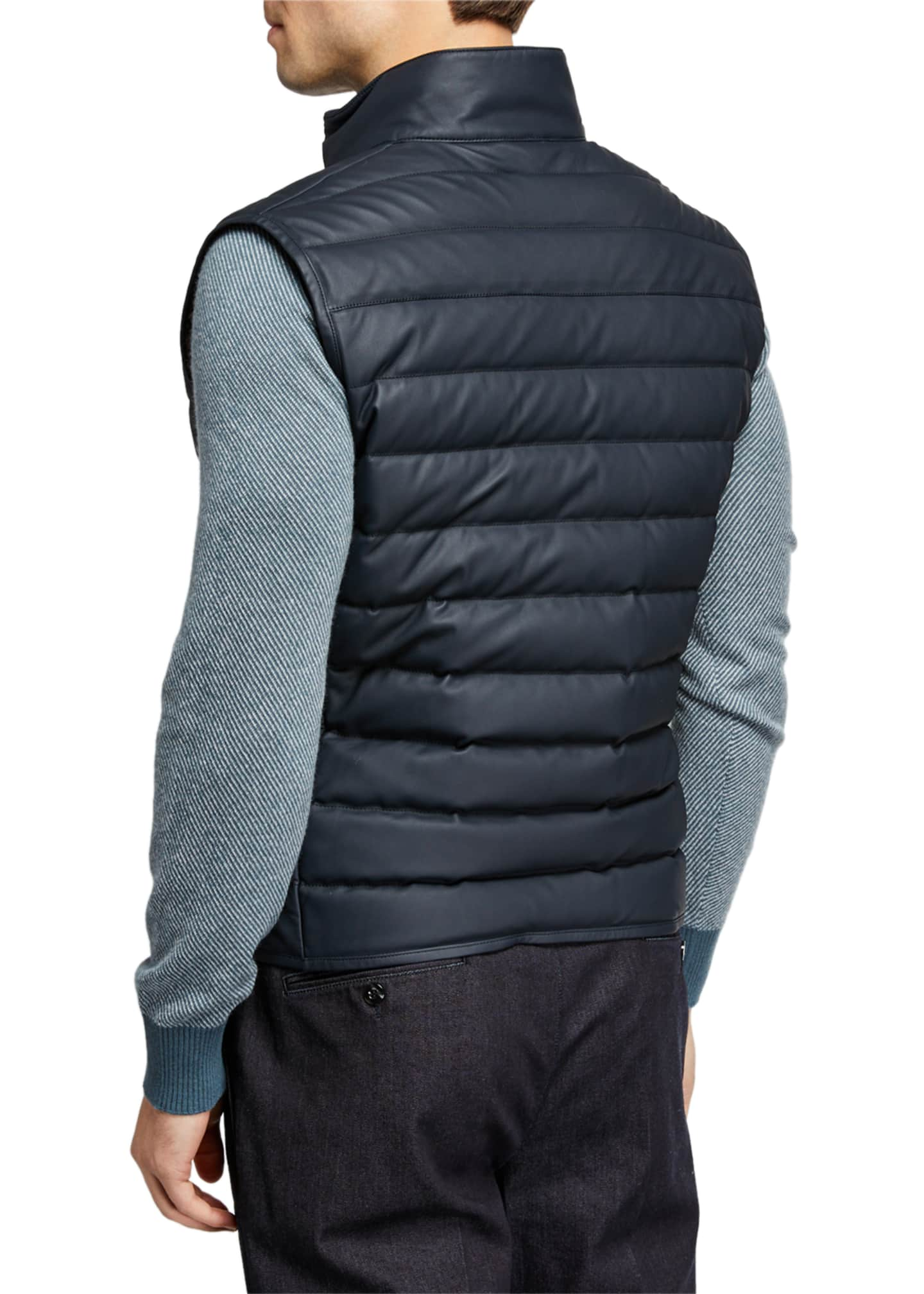 Image 3 of 3: Men's Leather Puffer Vest