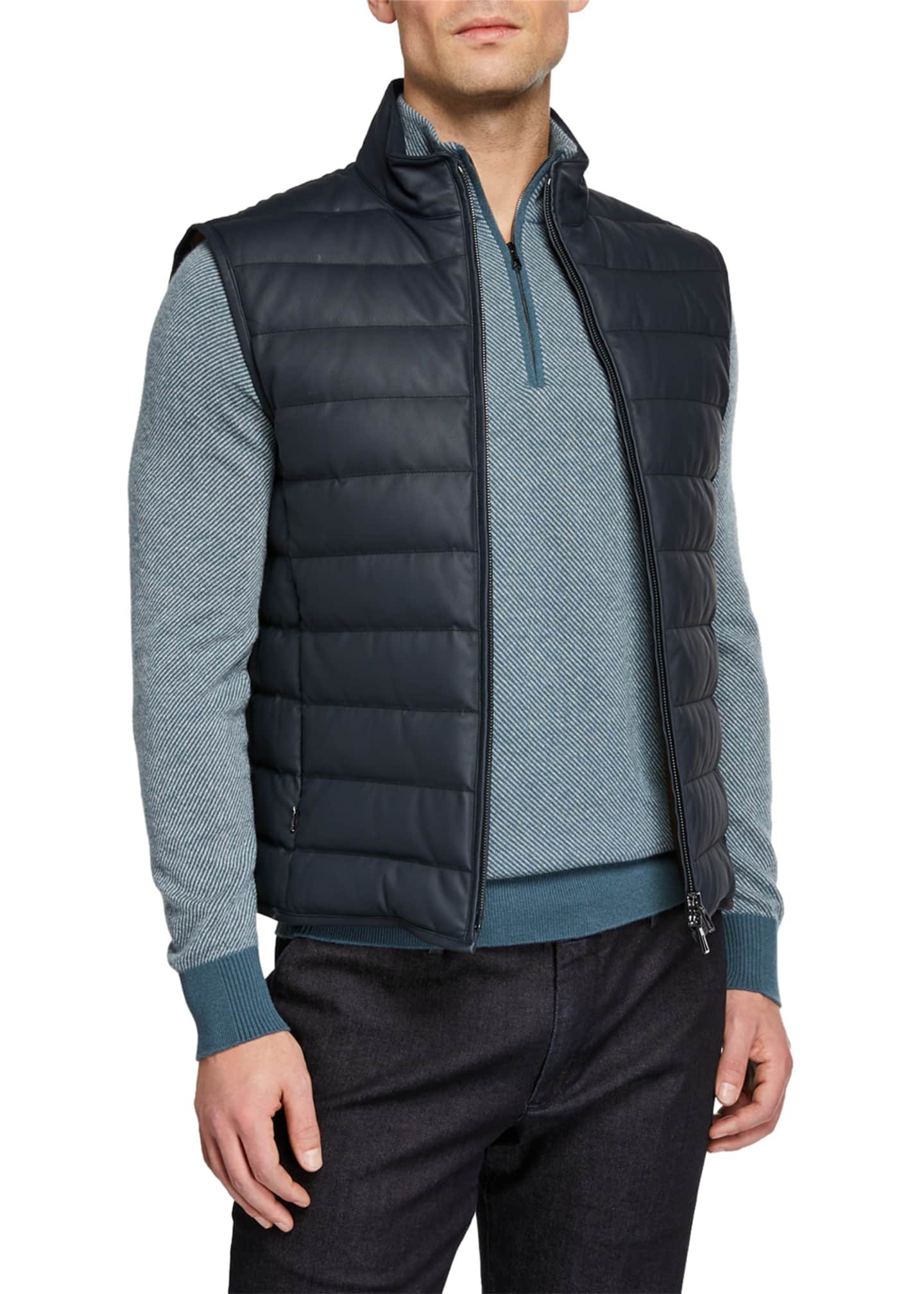Image 1 of 3: Men's Leather Puffer Vest