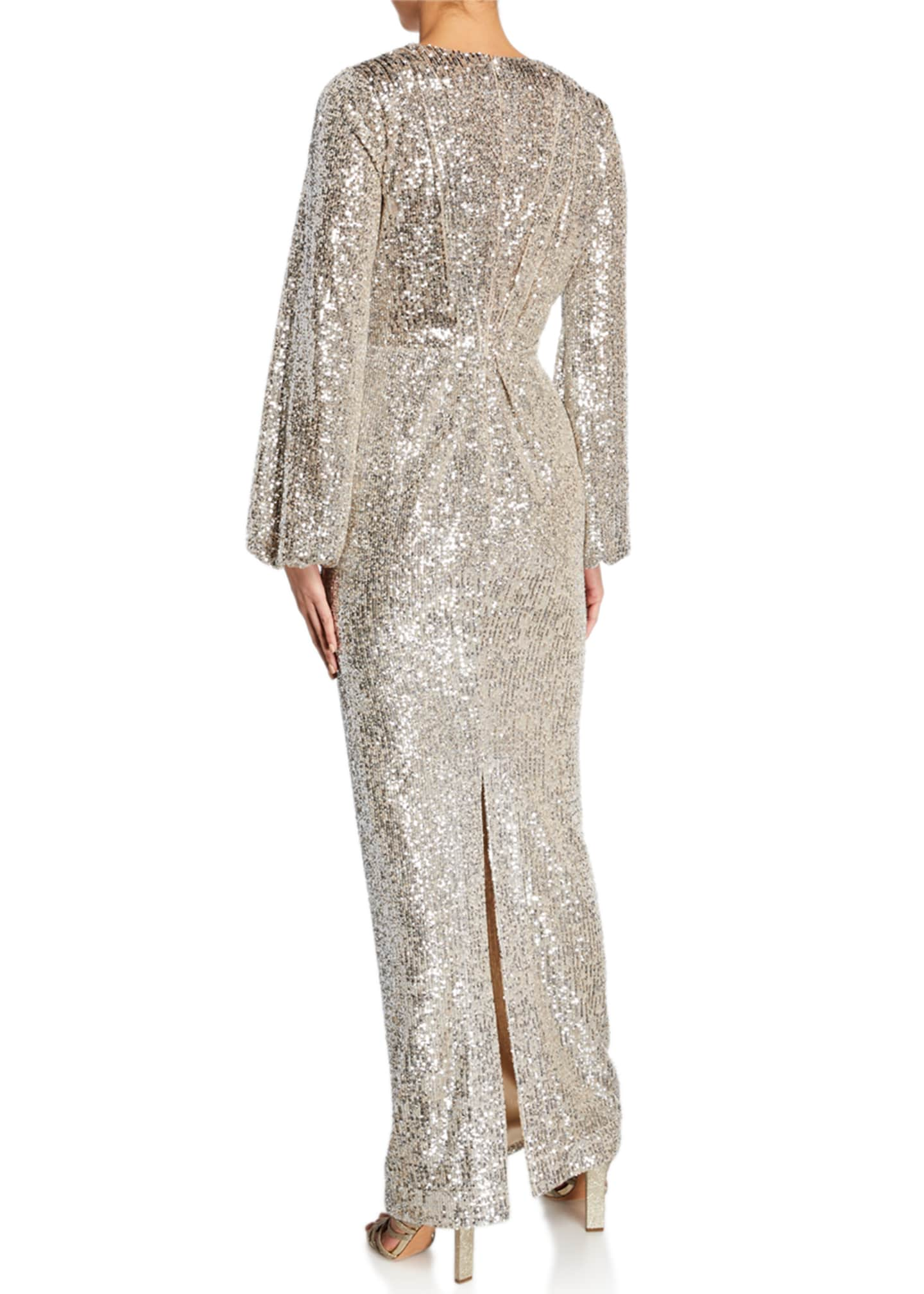 Image 2 of 2: Long-Sleeve Sequined V-Neck Gown
