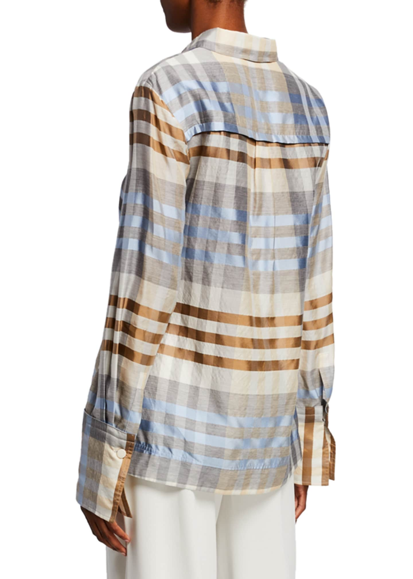 Image 2 of 2: Wool/Silk Plaid Button Front Shirt