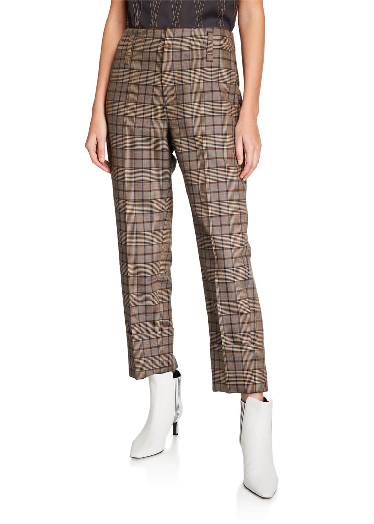 Brunello Cucinelli Double-Cuff Straight-Leg Check Pants