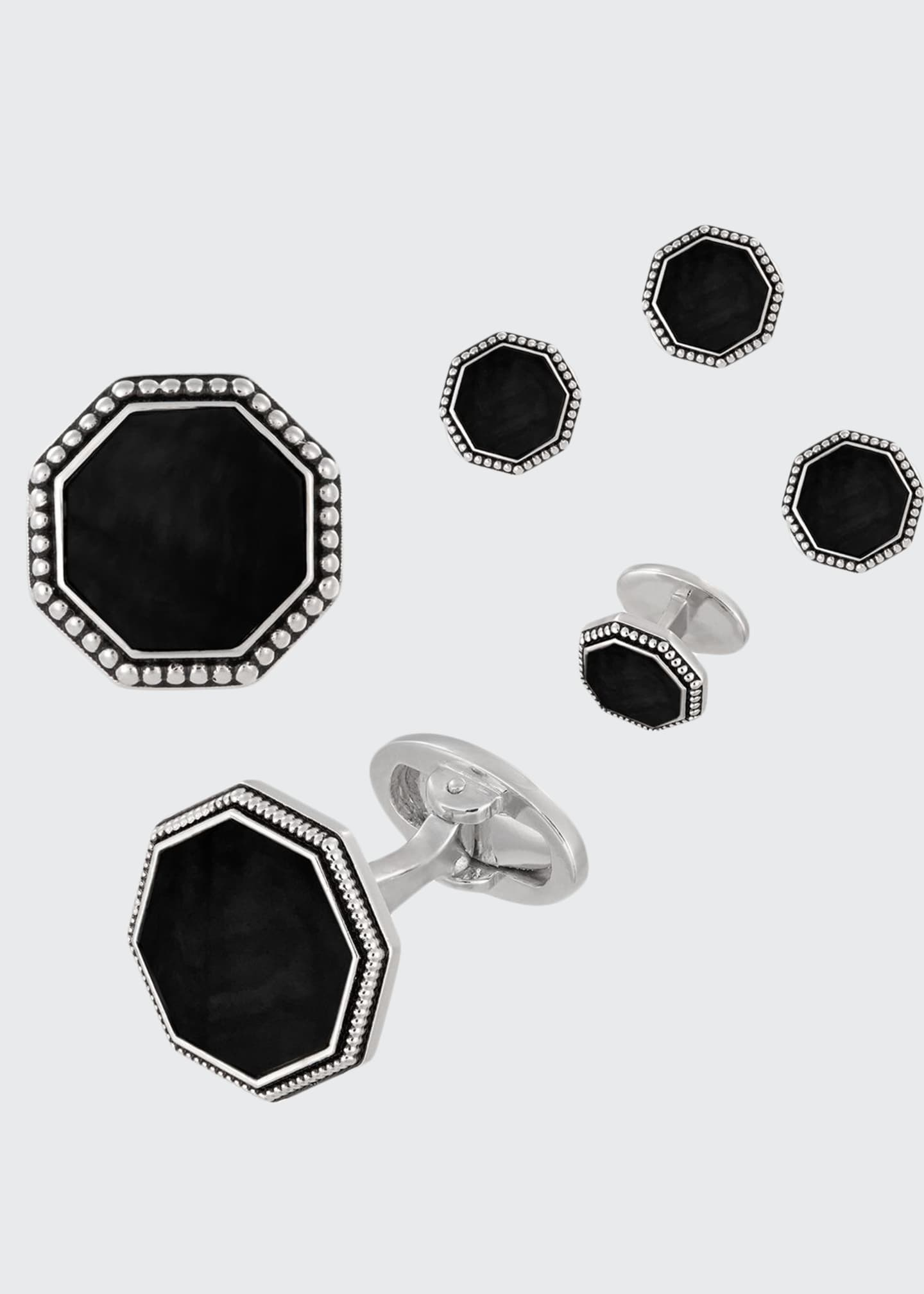 Image 1 of 1: Beaded Octagonal Onyx Cufflinks & Studs Set