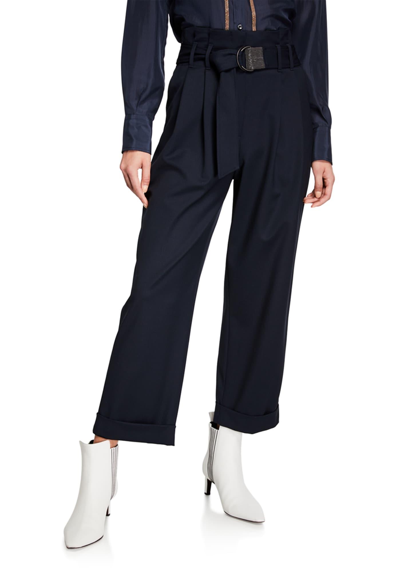 Brunello Cucinelli Monili-Belted Wide-Leg Cuffed Pants