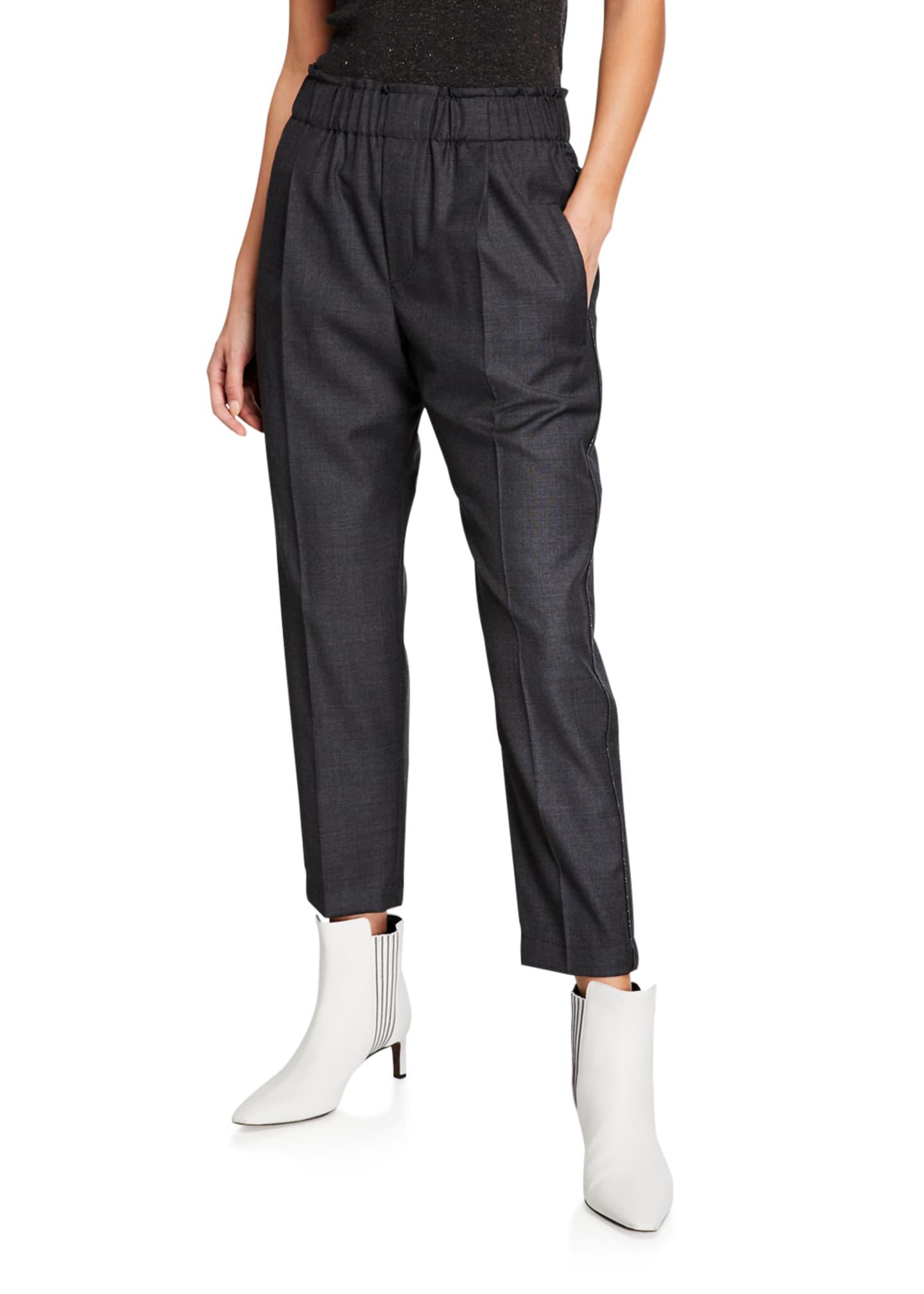 Brunello Cucinelli Wool Twill Tuxedo Pants