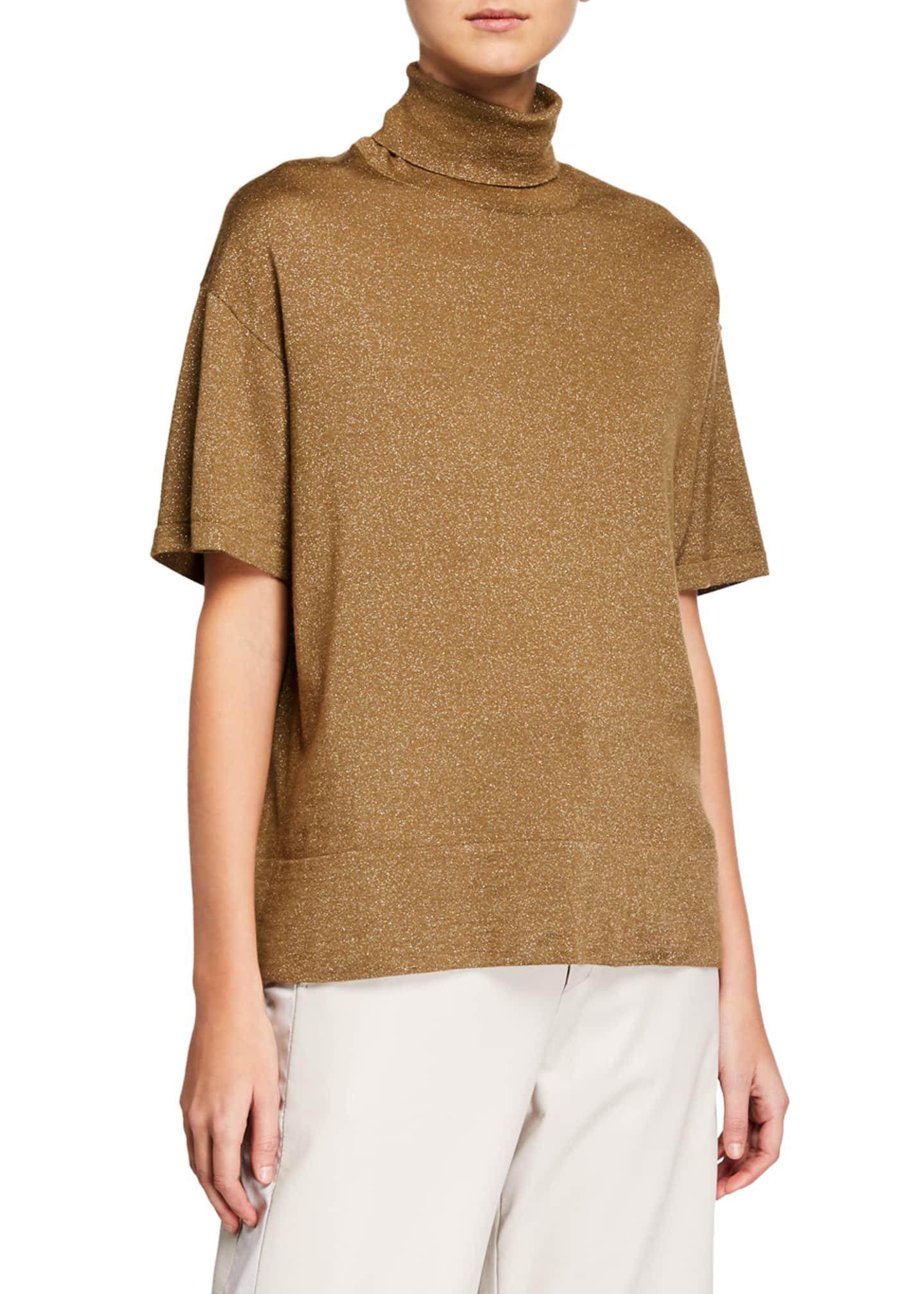 Brunello Cucinelli Short-Sleeve Cashmere-Silk Turtleneck Sweater
