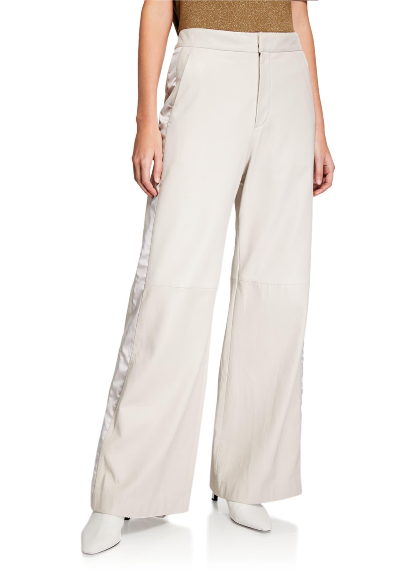 Brunello Cucinelli Wide-Leg Tuxedo-Striped Leather Pants