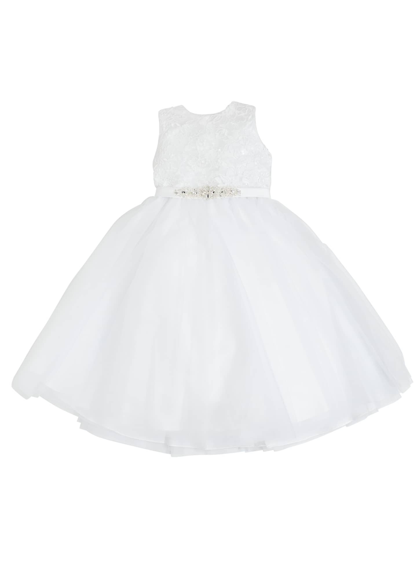 Joan Calabrese Tulle Embroidered Dress w/ Crystal Belt,