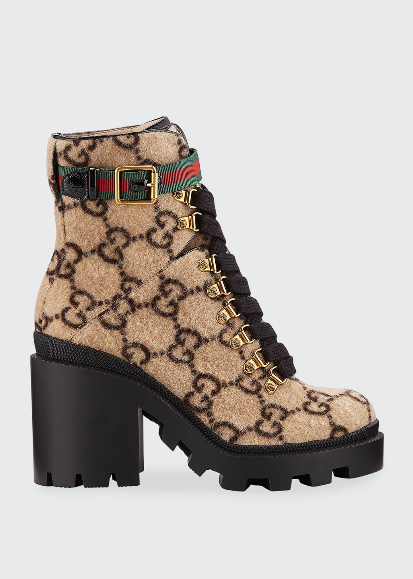 Image 1 of 4: Trip GG Wool Lace-Up Booties