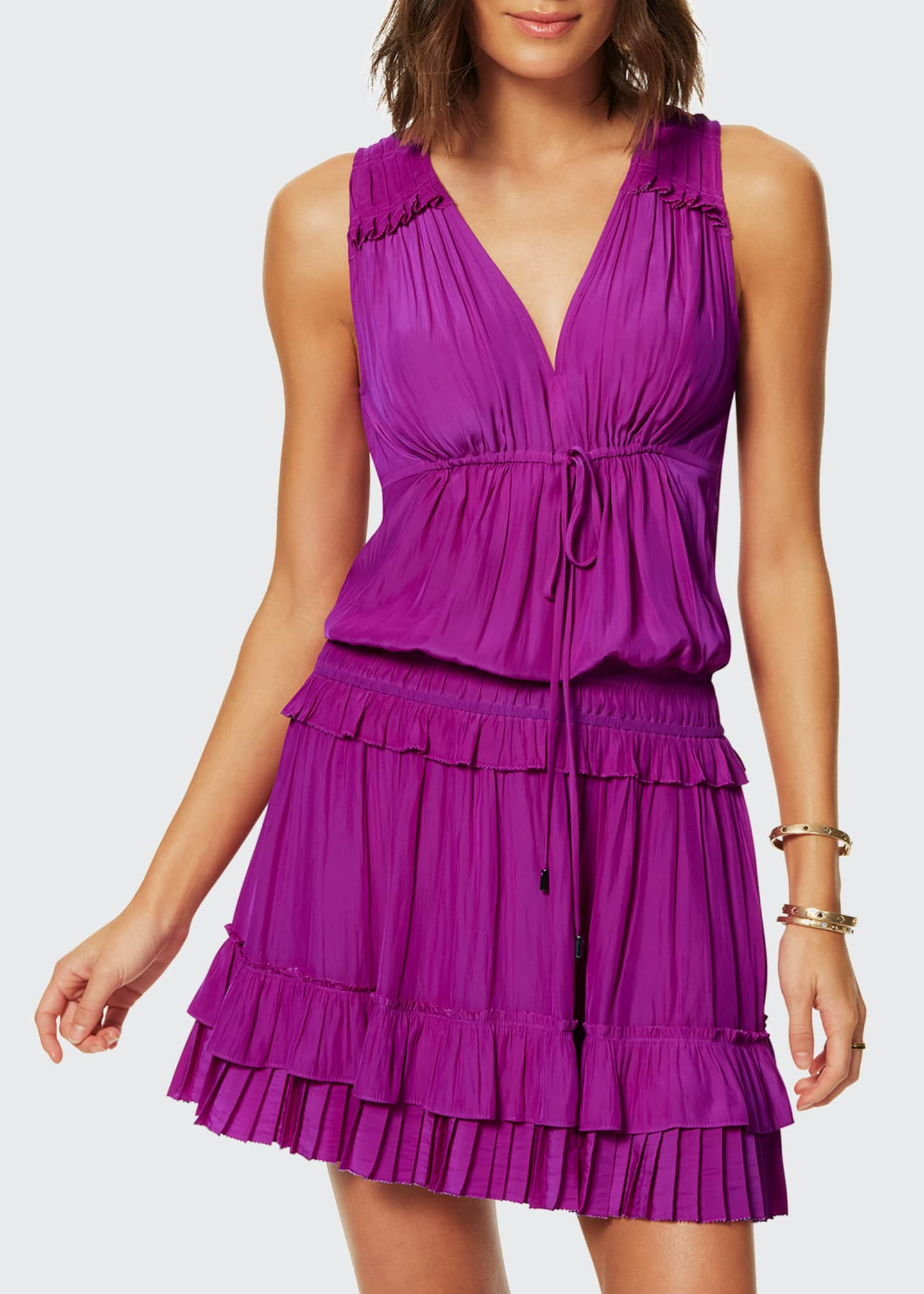 Image 1 of 2: Hadley Pleated Sleeveless Short Dress