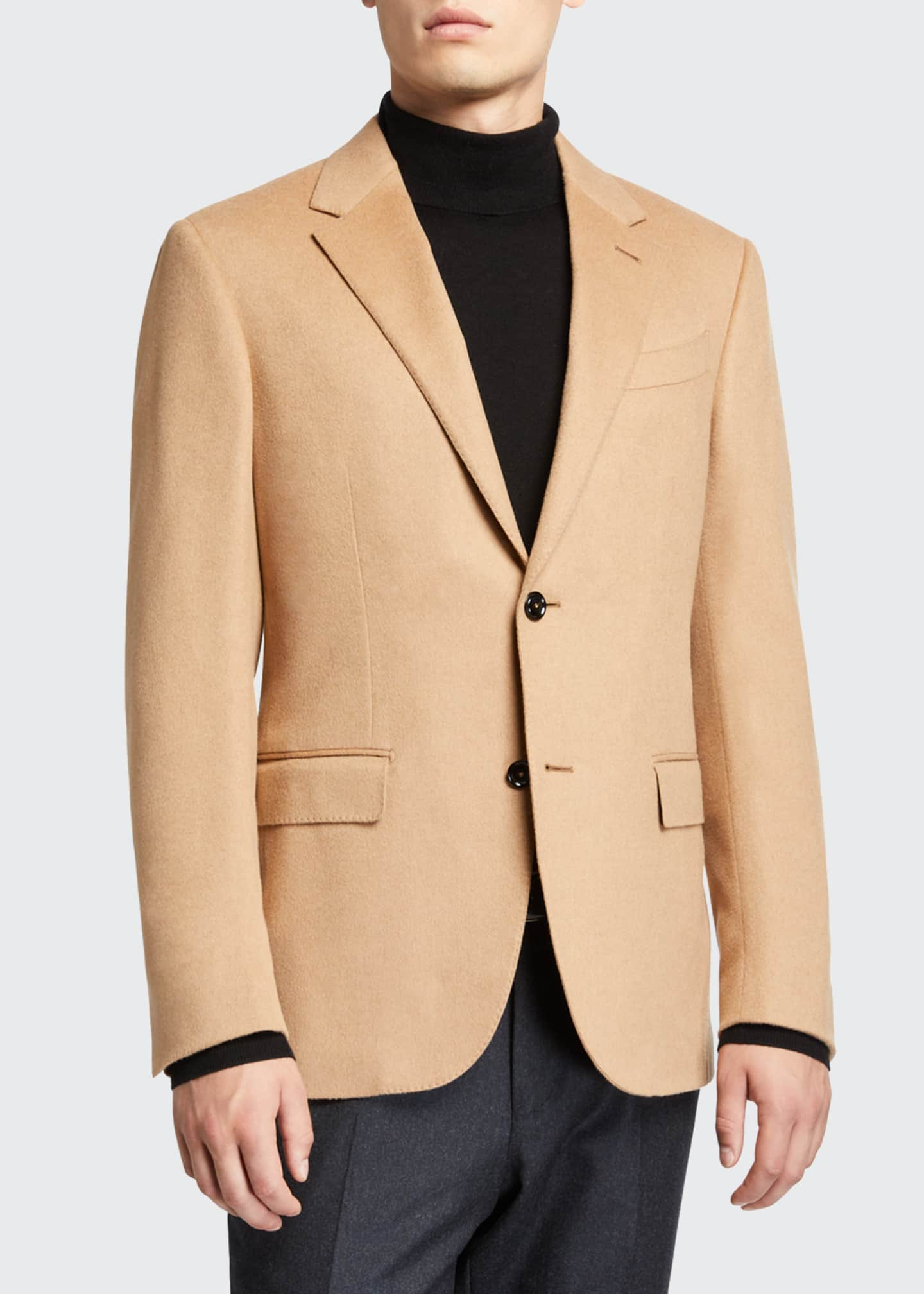 Image 1 of 3: Men's Solid Camel Hair Regular-Fit Sport Jacket