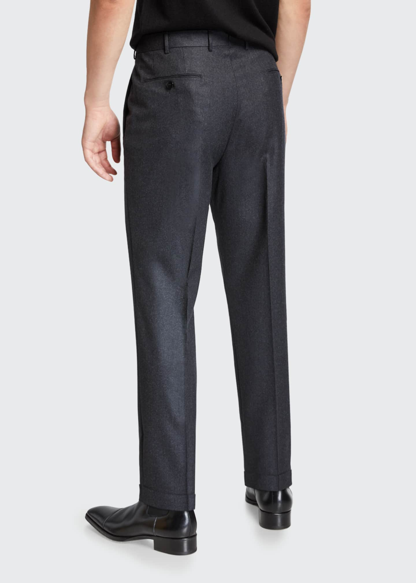 Image 2 of 3: Men's Wool-Silk Flannel Regular-Fit Trousers