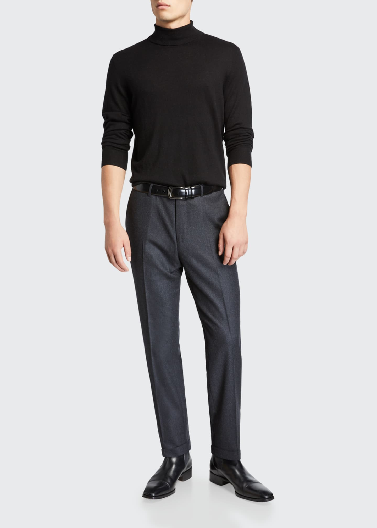 Image 3 of 3: Men's Wool-Silk Flannel Regular-Fit Trousers