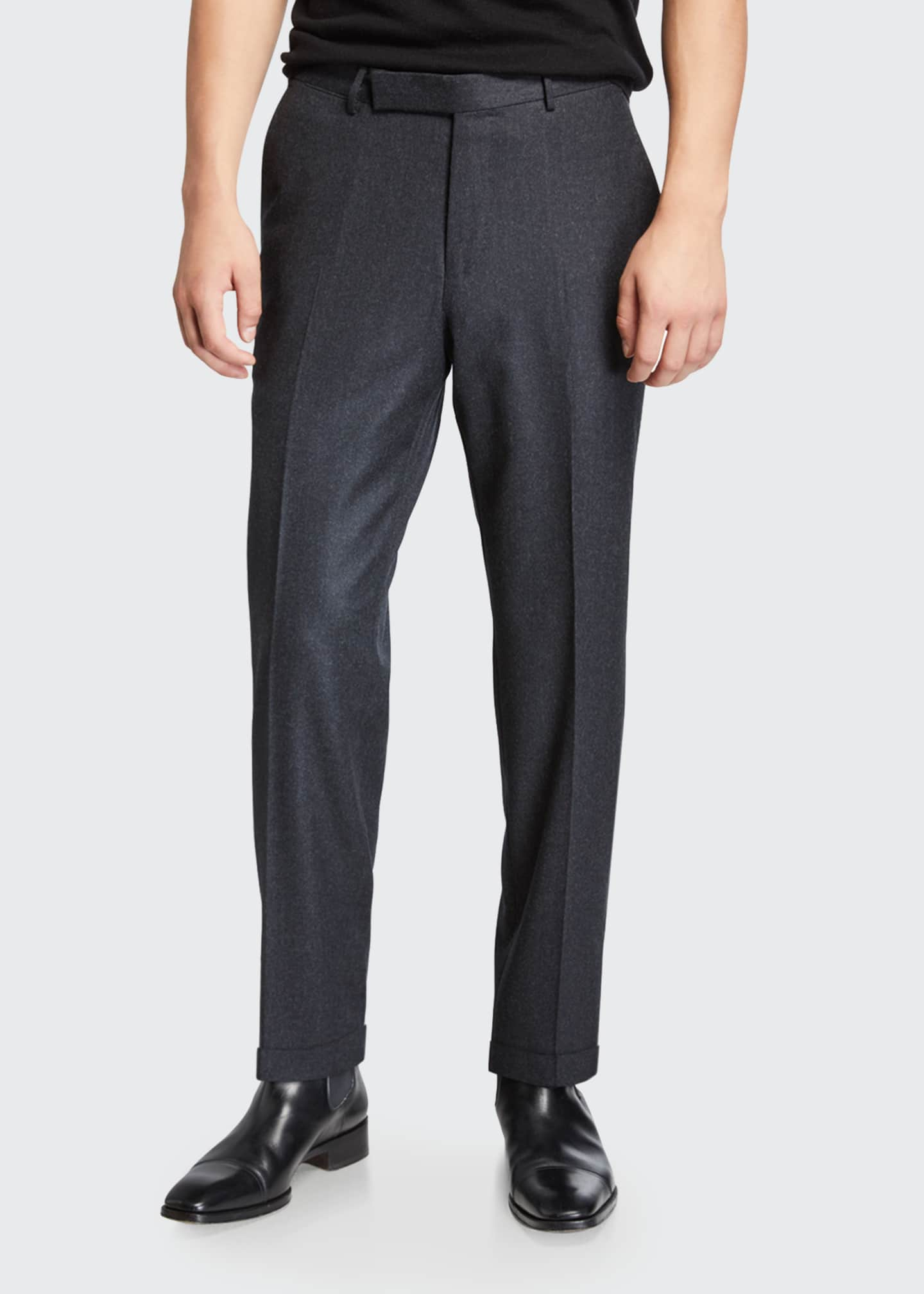 Image 1 of 3: Men's Wool-Silk Flannel Regular-Fit Trousers