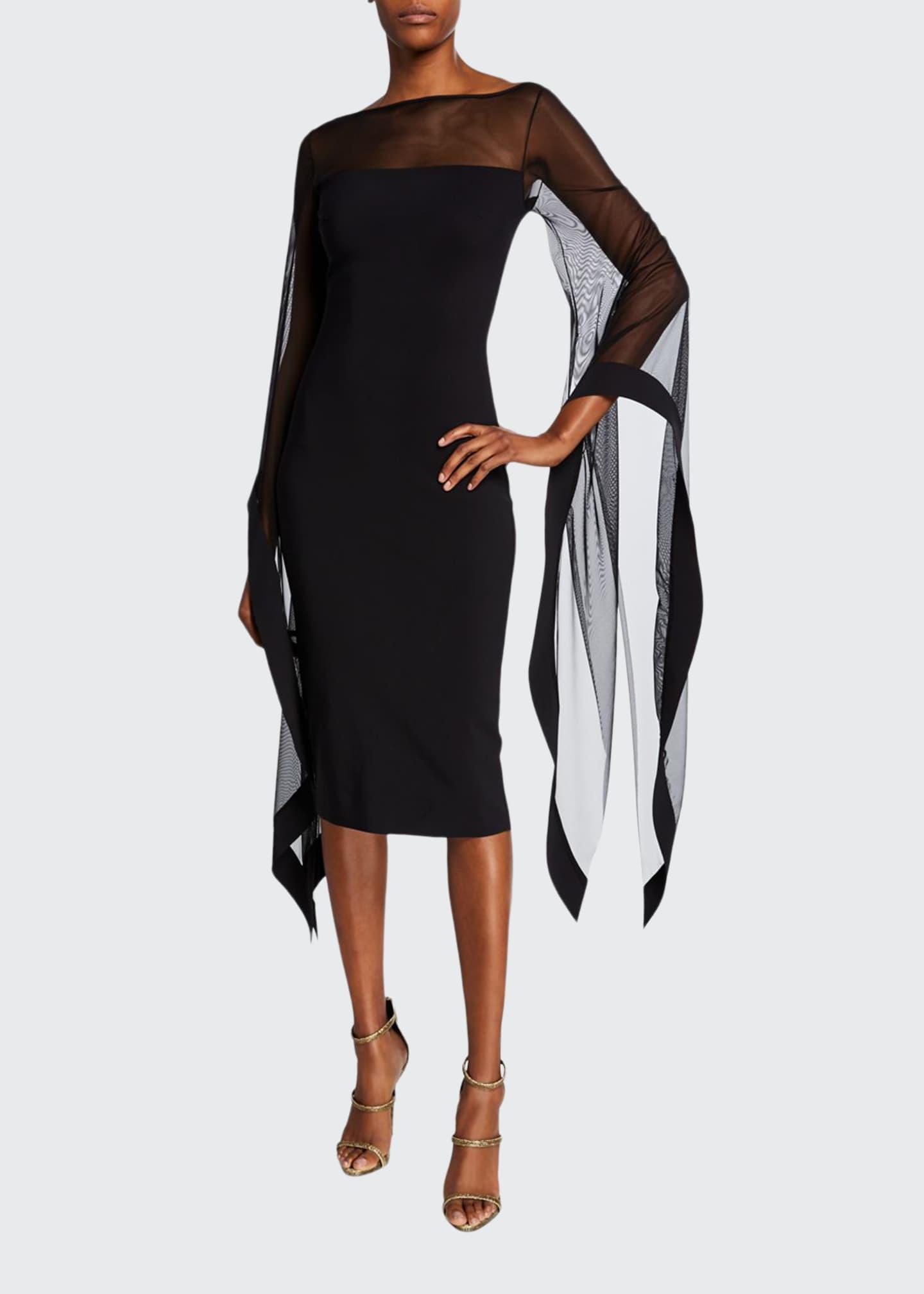 Chiara Boni La Petite Robe High-Neck Sheer Wing-Sleeve