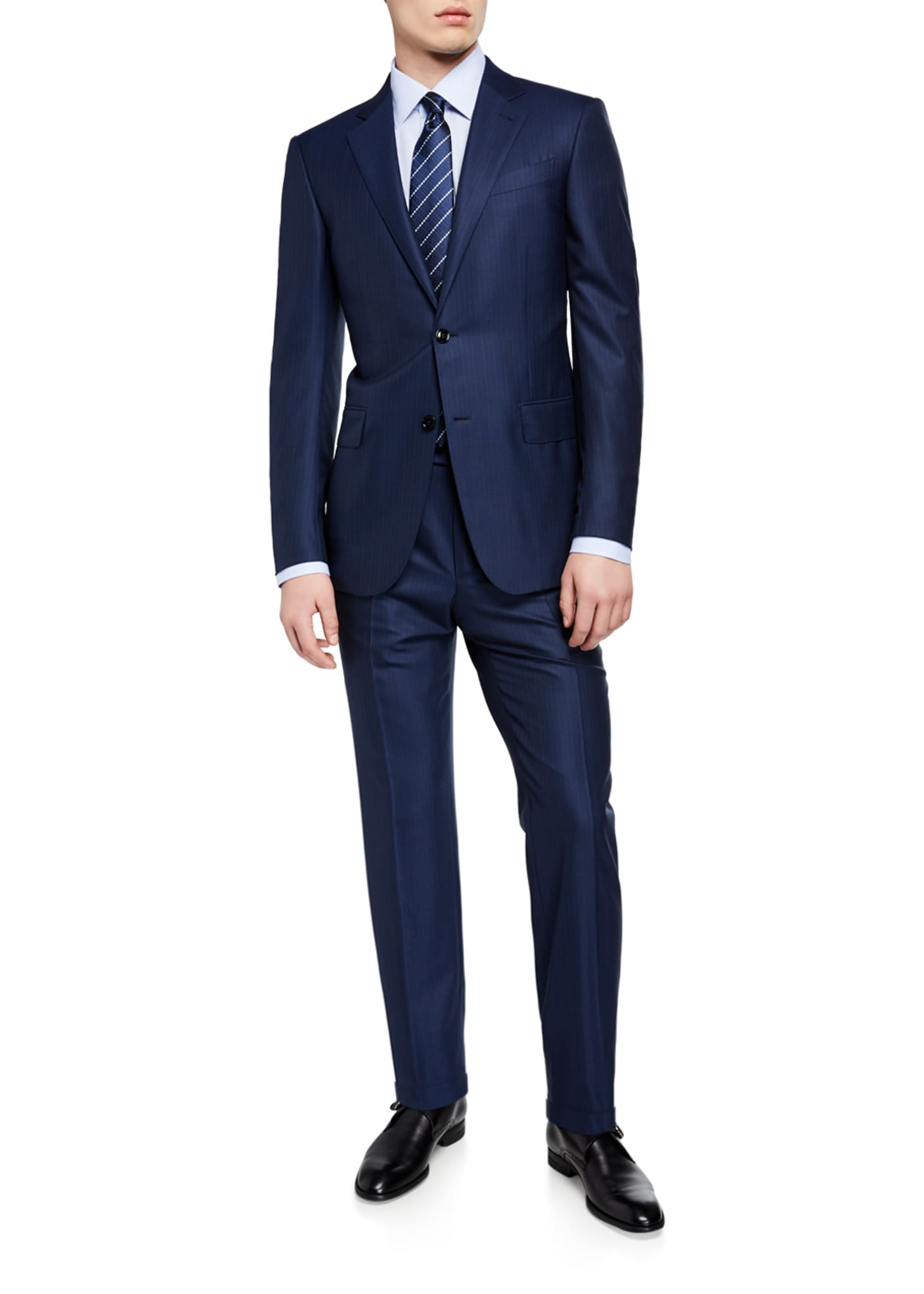 Image 2 of 4: Men's Regular-Fit Textured Stripe Two-Piece Suit