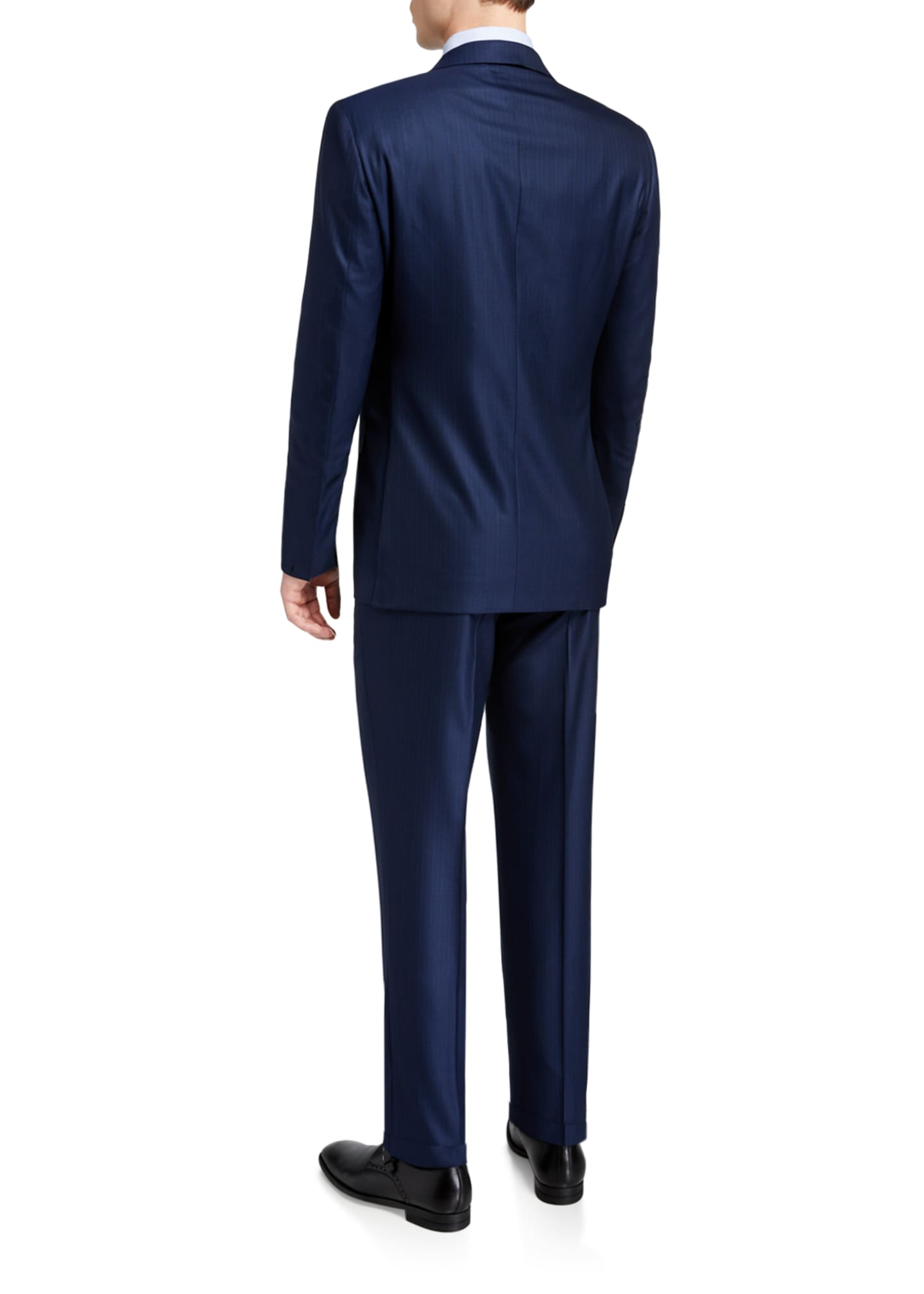 Image 3 of 4: Men's Regular-Fit Textured Stripe Two-Piece Suit