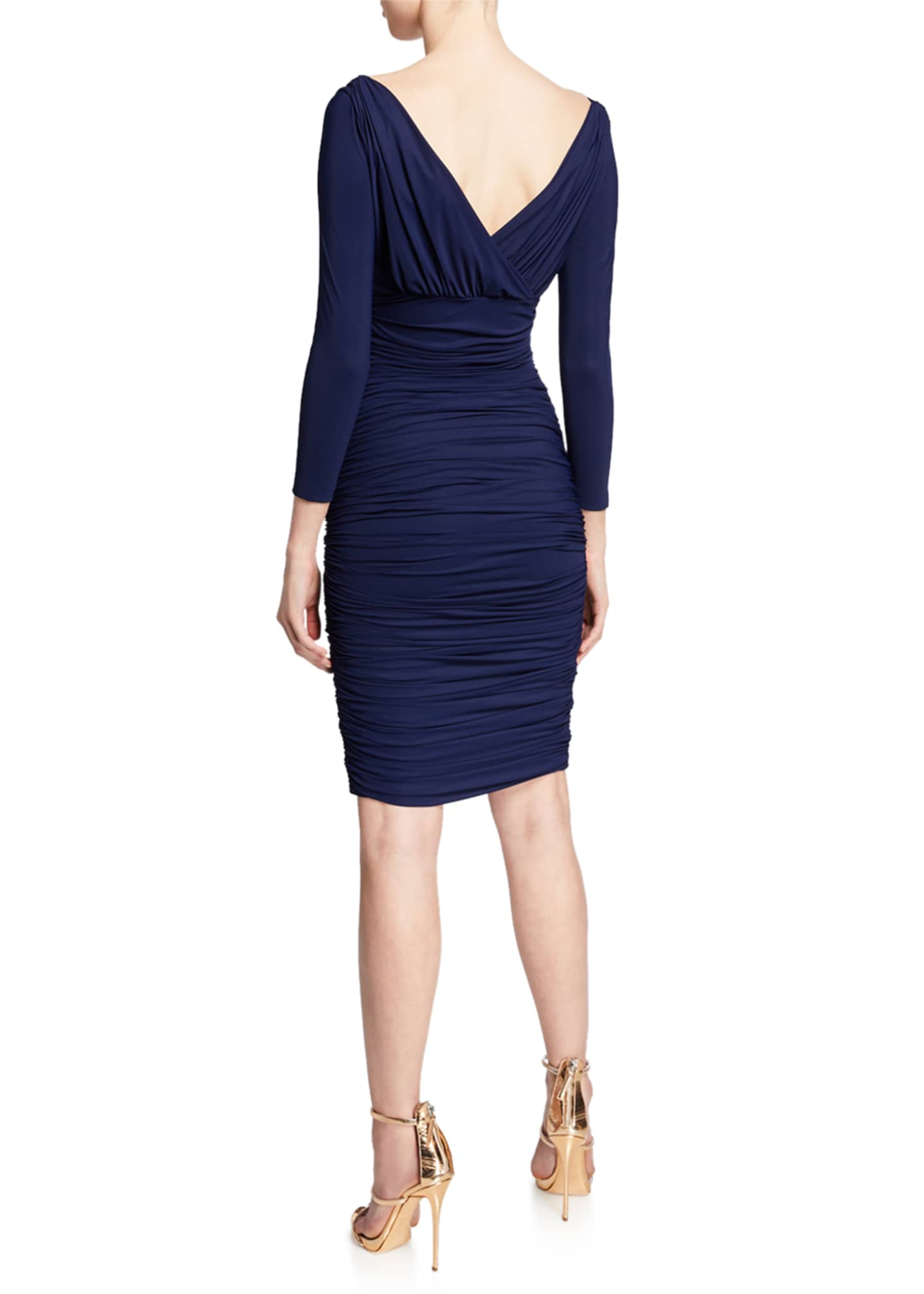 Image 2 of 2: V-Neck 3/4-Sleeve Ruched Cocktail Dress