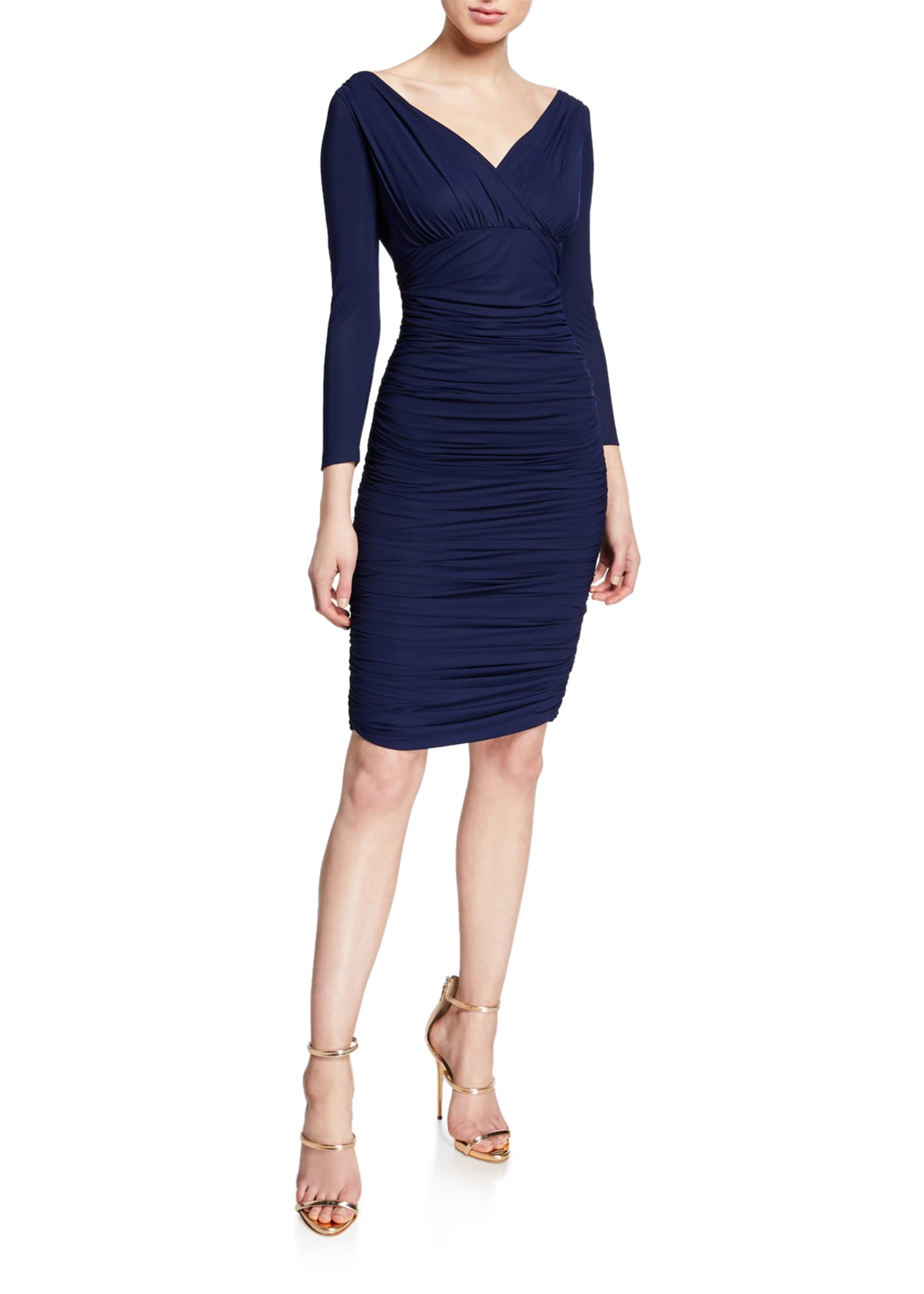 Image 1 of 2: V-Neck 3/4-Sleeve Ruched Cocktail Dress