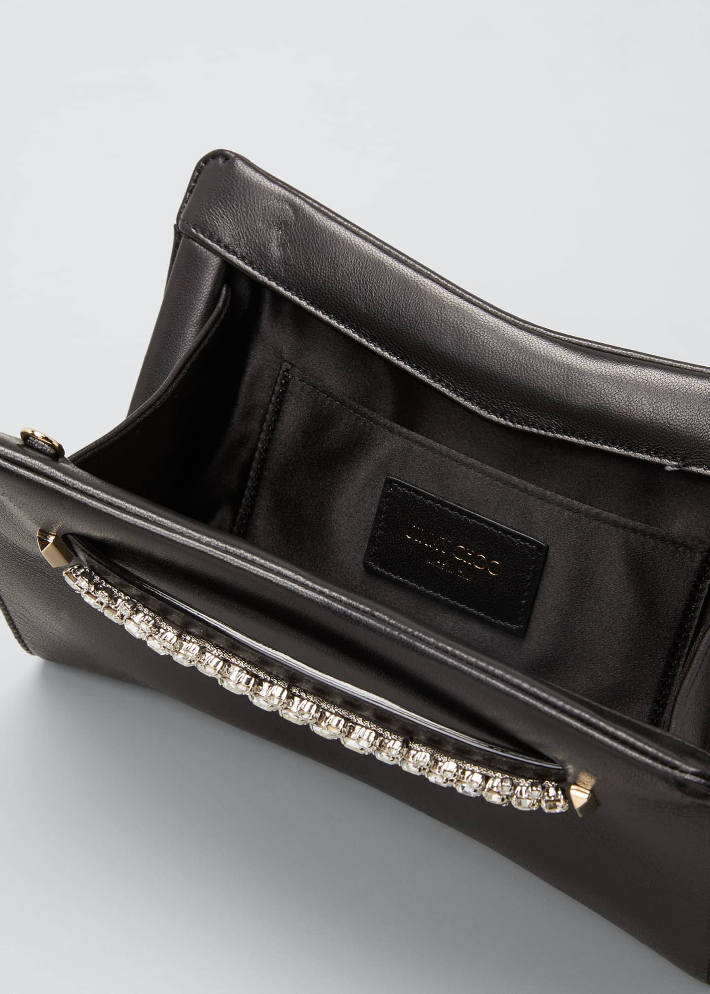 Image 4 of 5: Venus Crystal-Handle Leather Clutch Bag