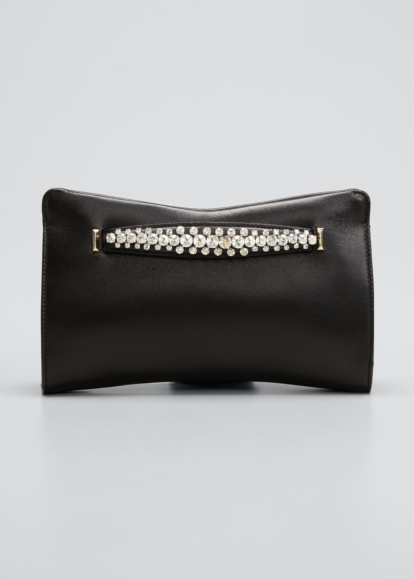 Image 1 of 5: Venus Crystal-Handle Leather Clutch Bag