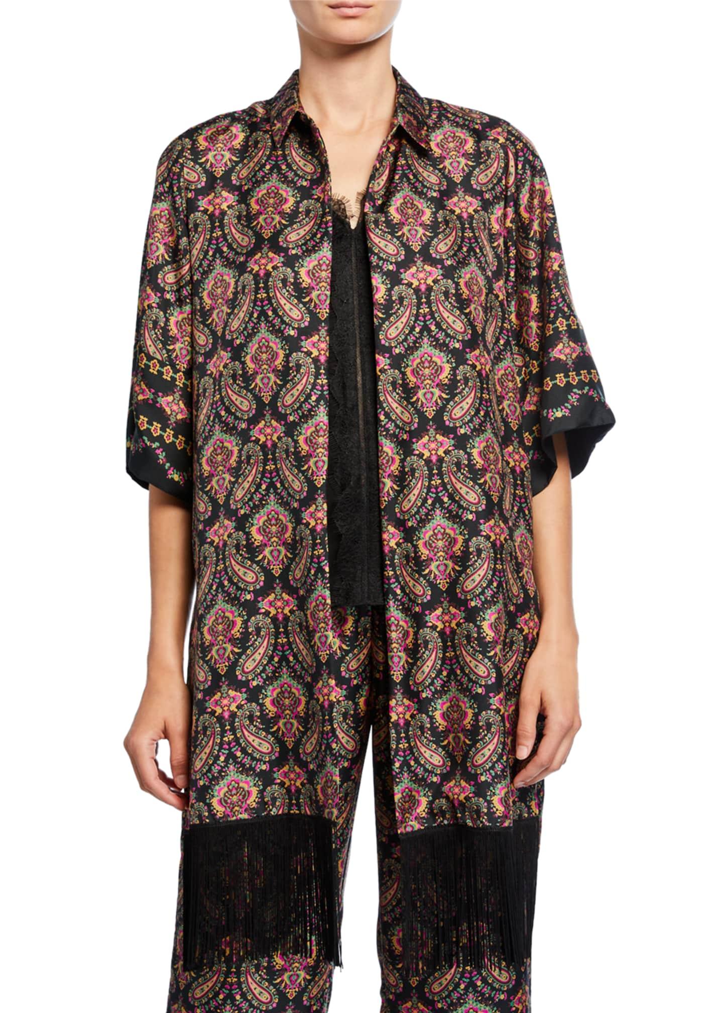 Kobi Halperin Jaycee Paisley Silk Shirt Jacket with