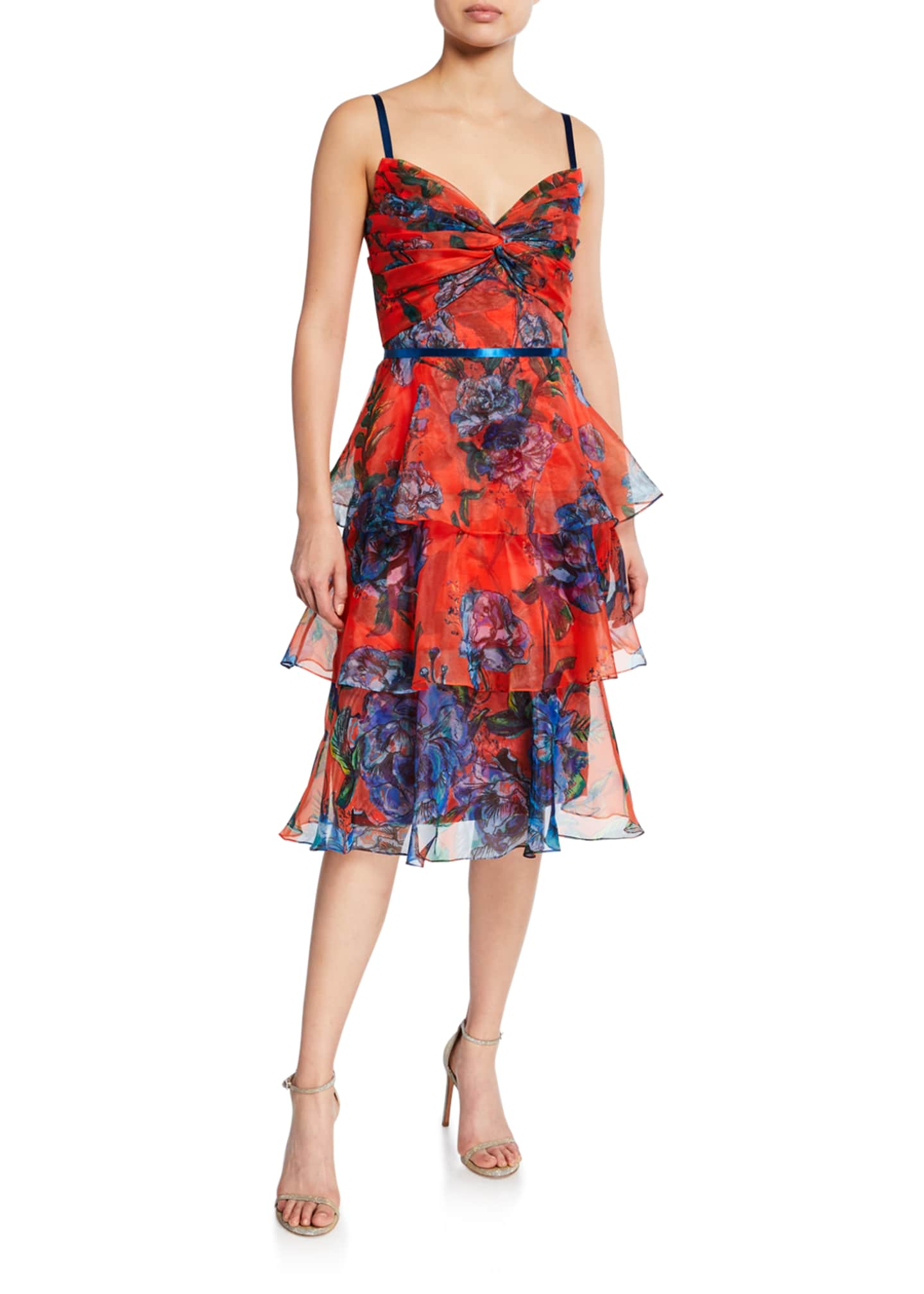Marchesa Notte Floral-Print Sleeveless Tiered Organza Dress with