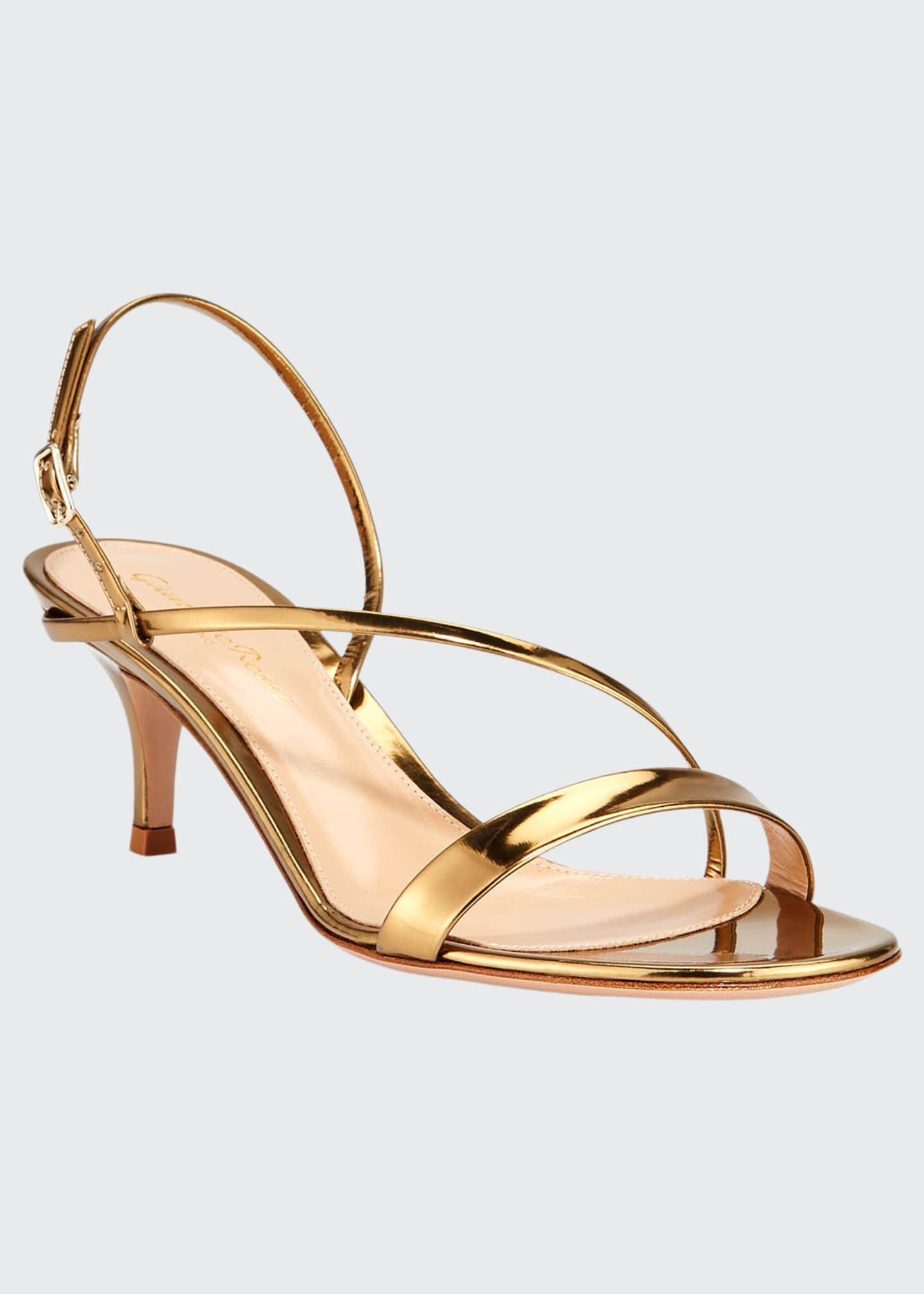 Gianvito Rossi Strappy Low-Heel Metallic Leather Sandals