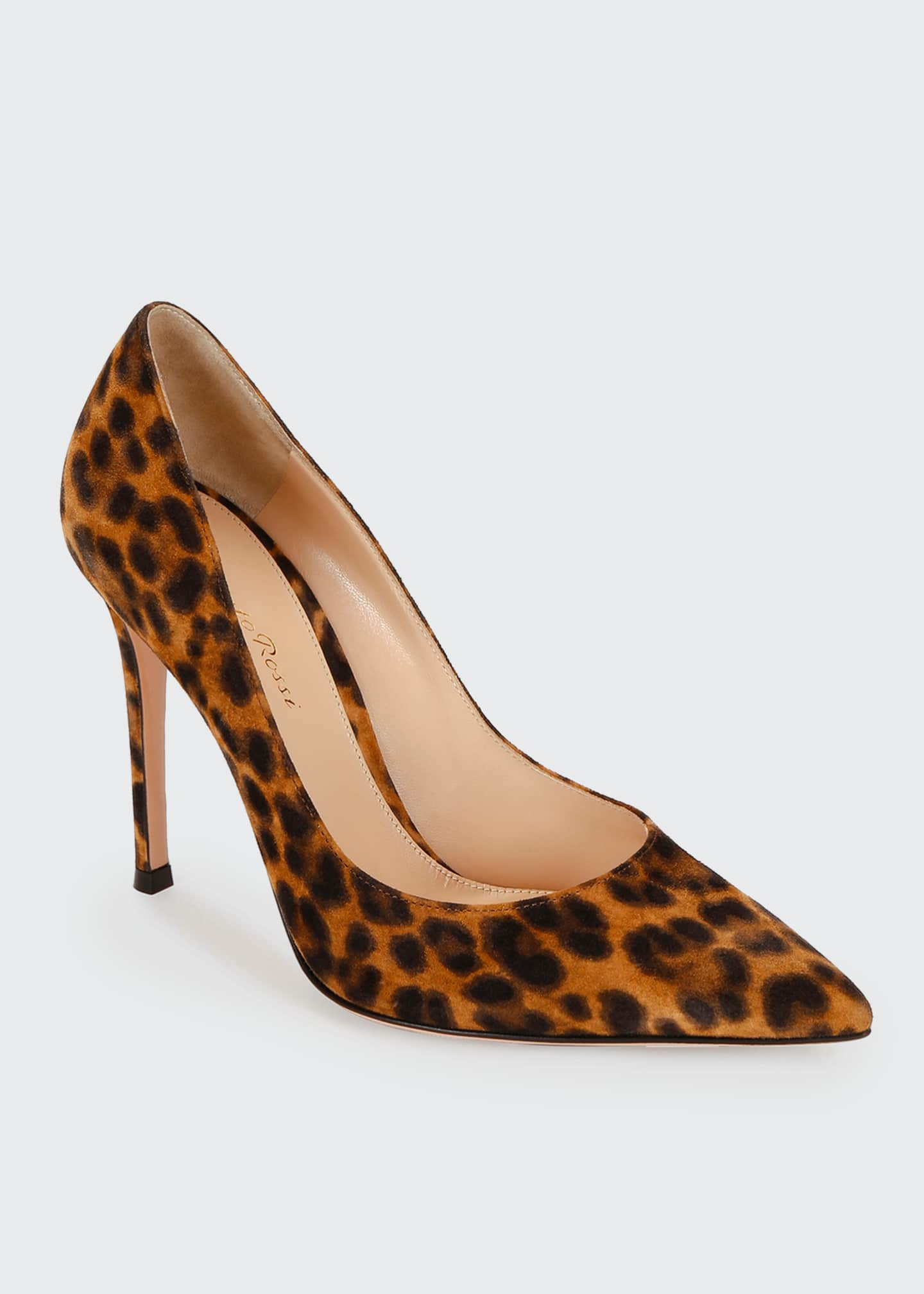 Image 2 of 3: Leopard-Print Suede Stiletto Pumps