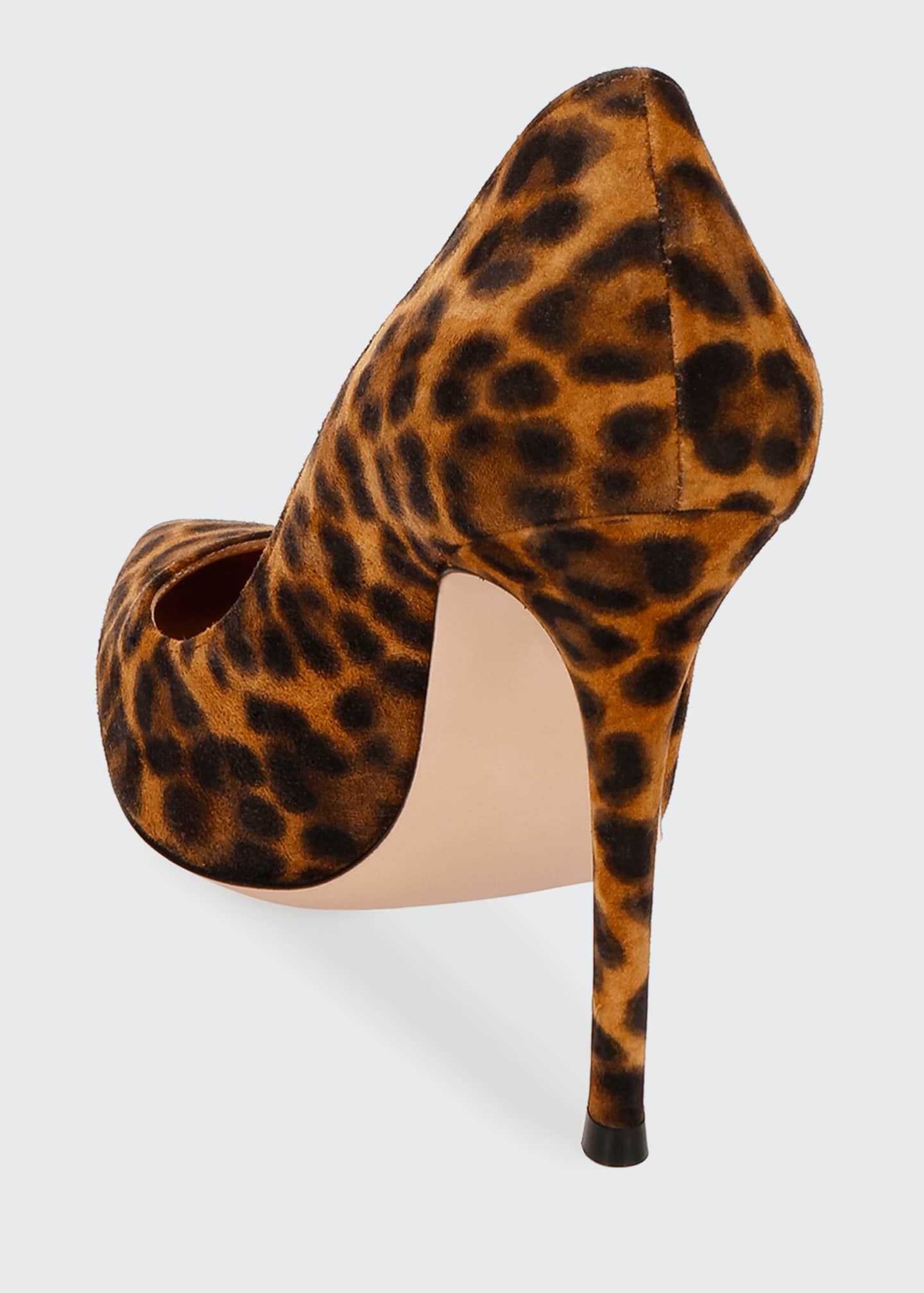 Image 3 of 3: Leopard-Print Suede Stiletto Pumps