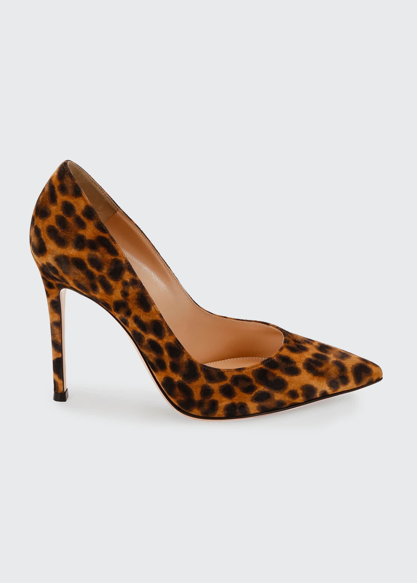 Image 1 of 3: Leopard-Print Suede Stiletto Pumps