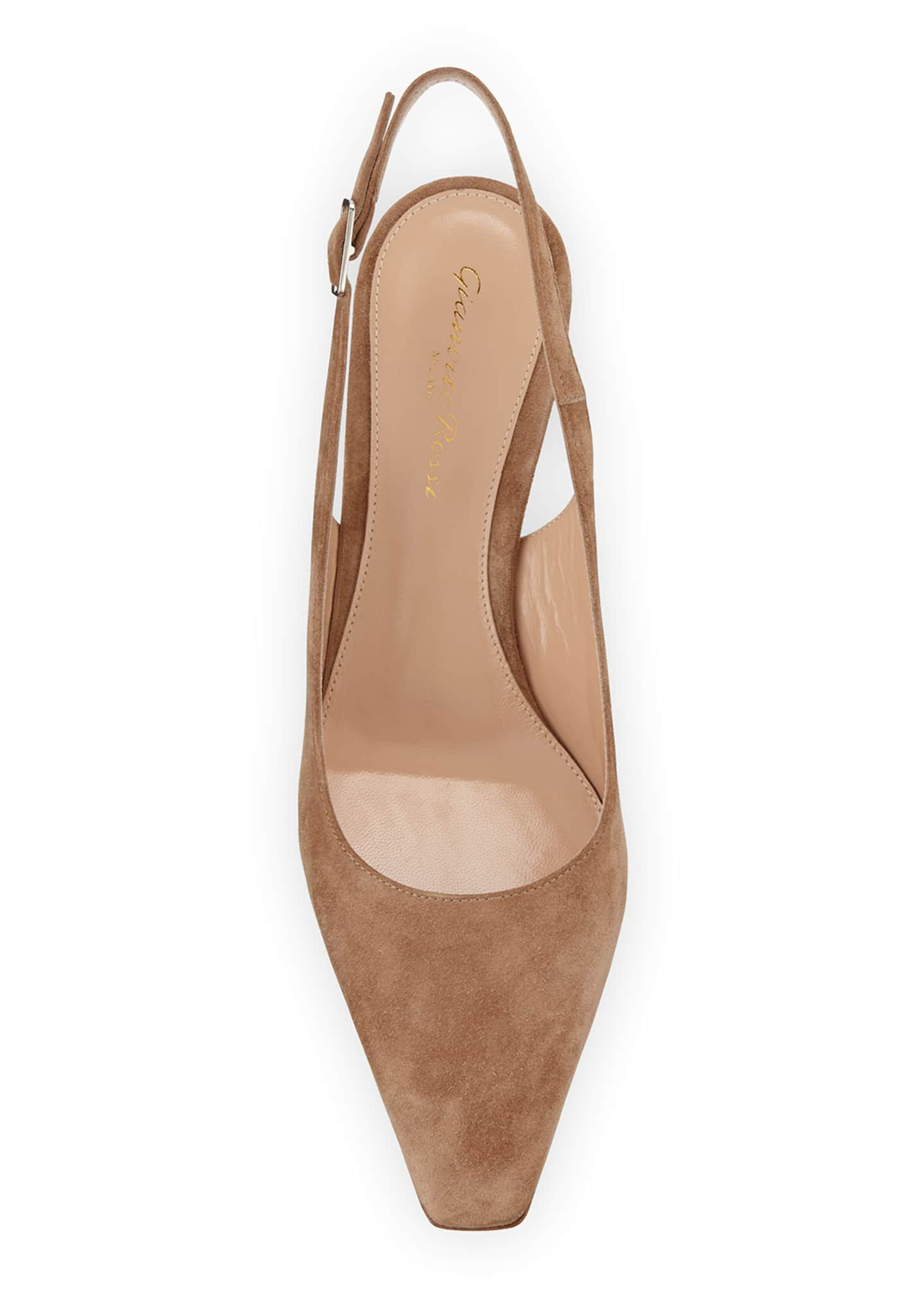 Image 3 of 3: Suede Slingback Mule Pumps