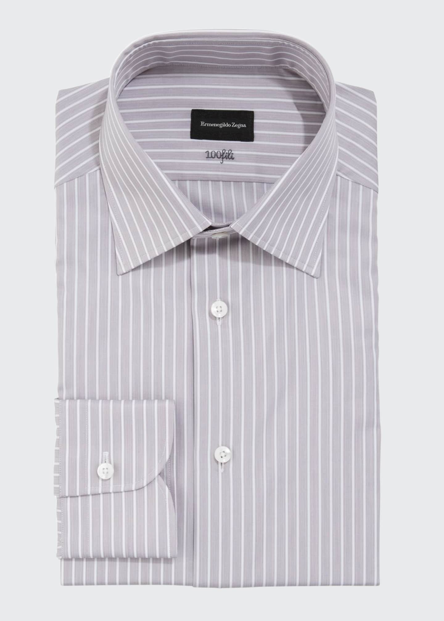 Ermenegildo Zegna Men's 100fili Striped Cotton Dress Shirt