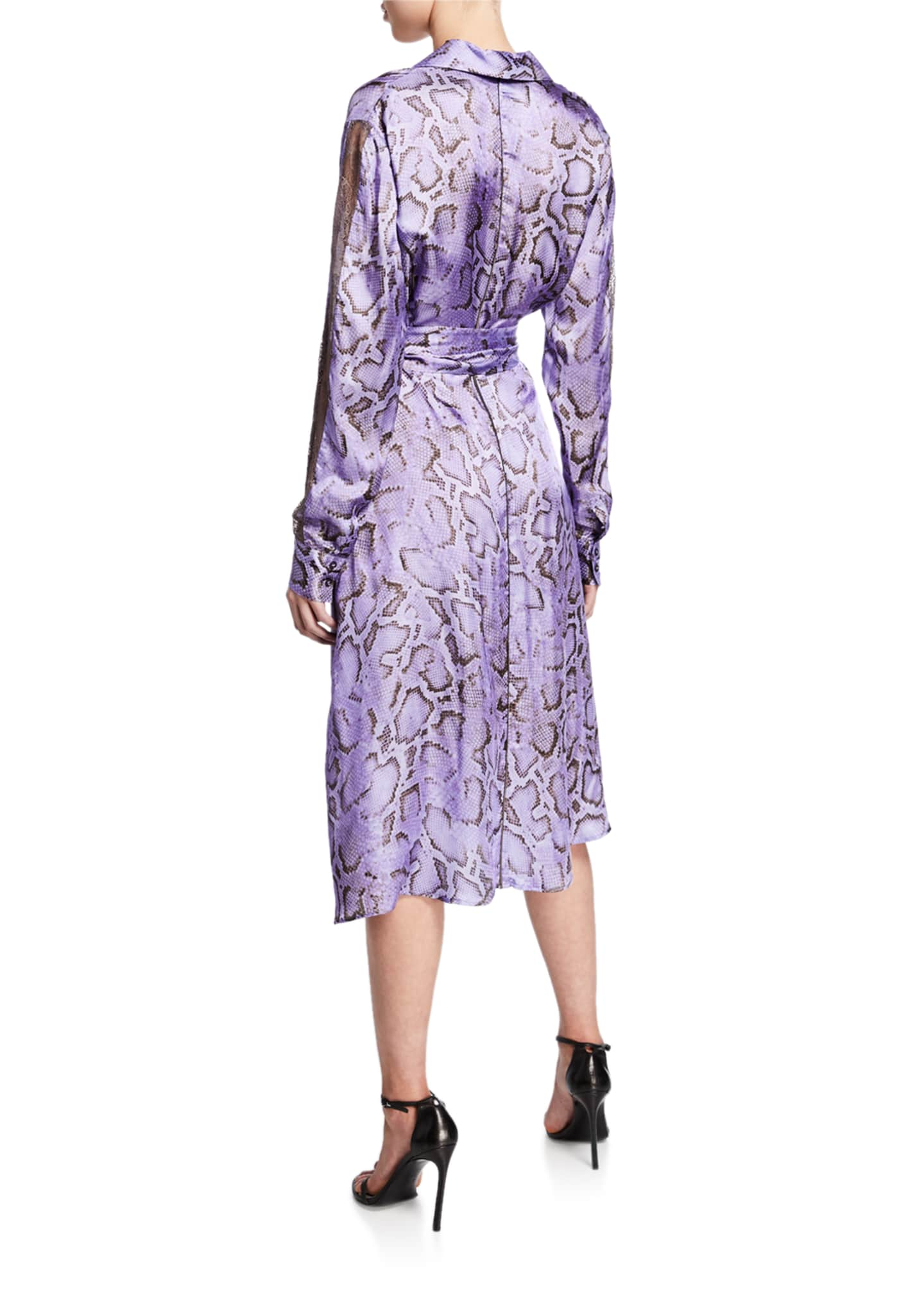 Image 2 of 2: Amalia Snake-Print Wrap Dress