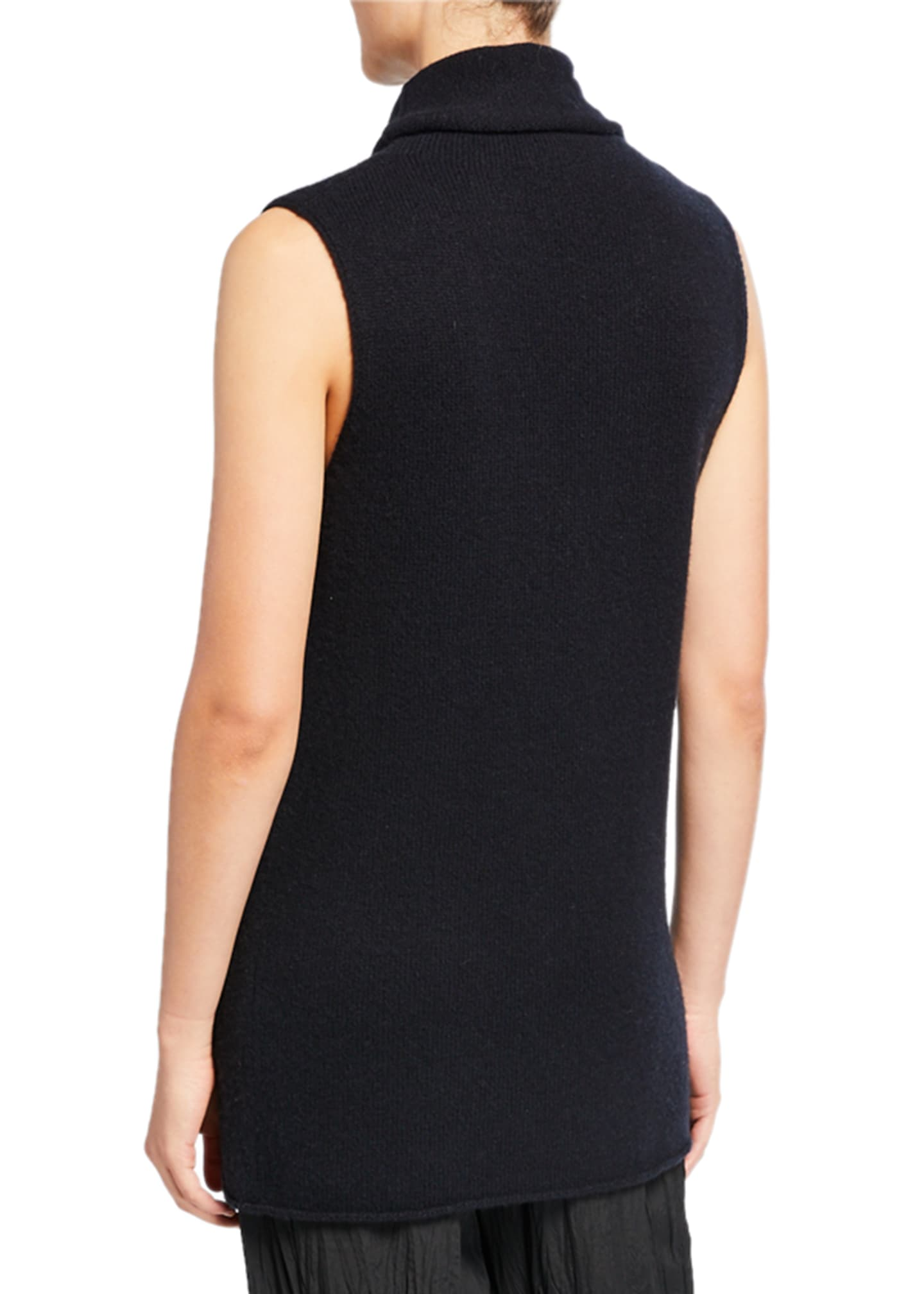 Image 2 of 2: Sleeveless Ribbed Funnel-Neck Cashmere Top