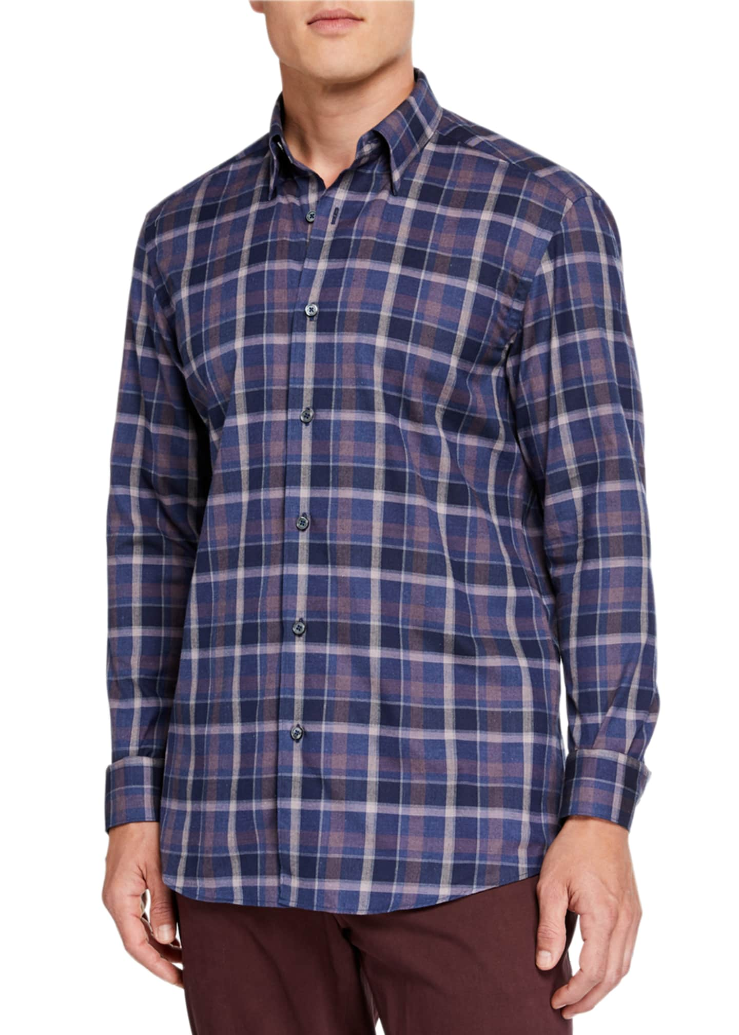 Image 1 of 2: Men's Large Plaid Regular-Fit Sport Shirt