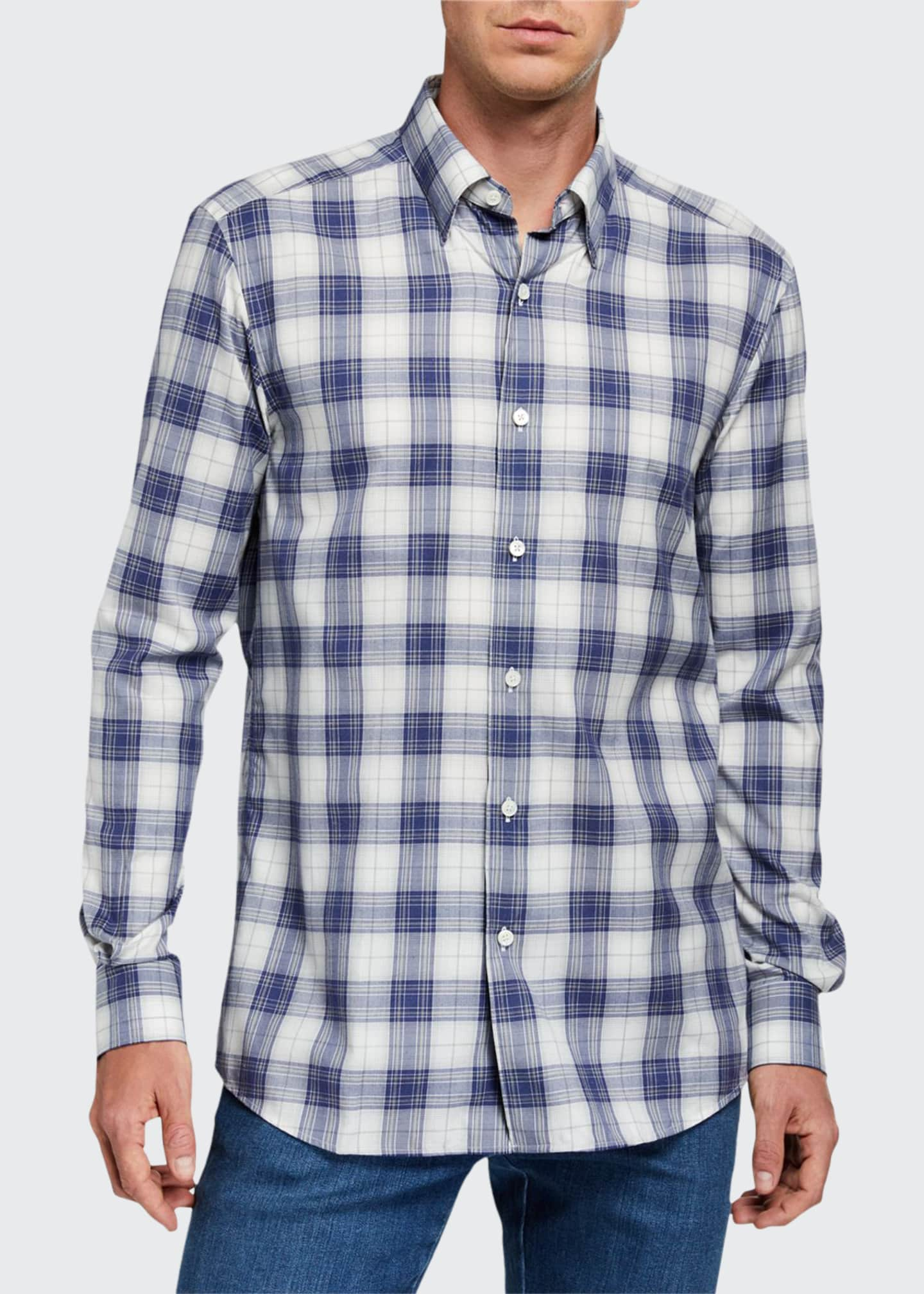 Ermenegildo Zegna Men's Large Plaid Sport Shirt