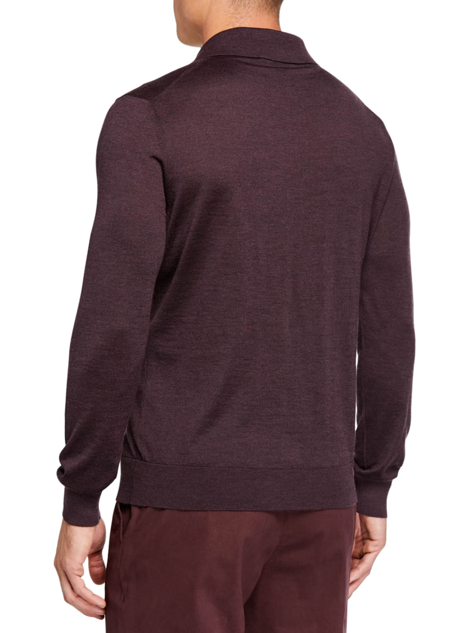 Image 2 of 2: Men's Cashmere-Blend Long-Sleeve Regular-Fit Polo Shirt