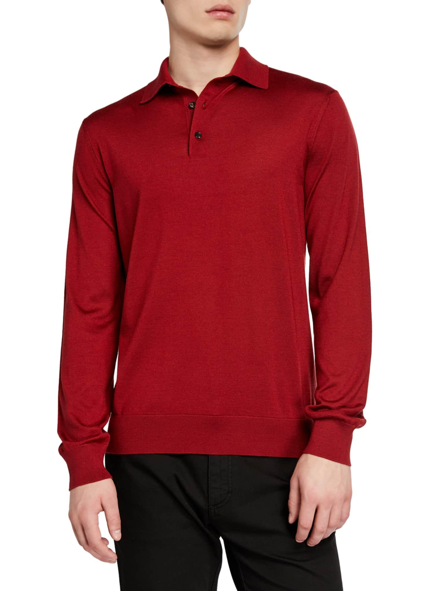Ermenegildo Zegna Men's Cashmere-Blend Long-Sleeve Polo Shirt