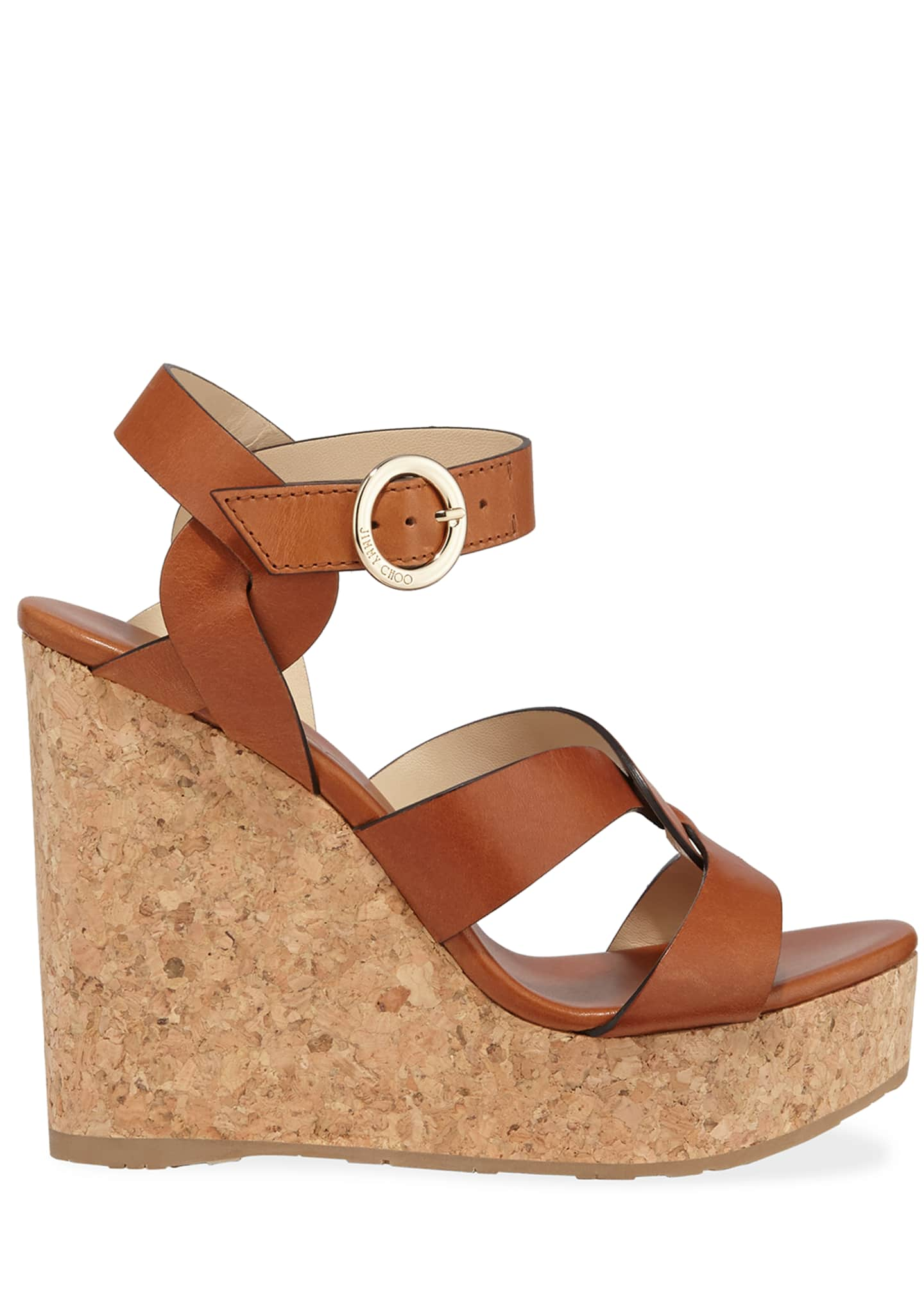 Image 2 of 3: Aleili Leather Cork Wedge Sandals