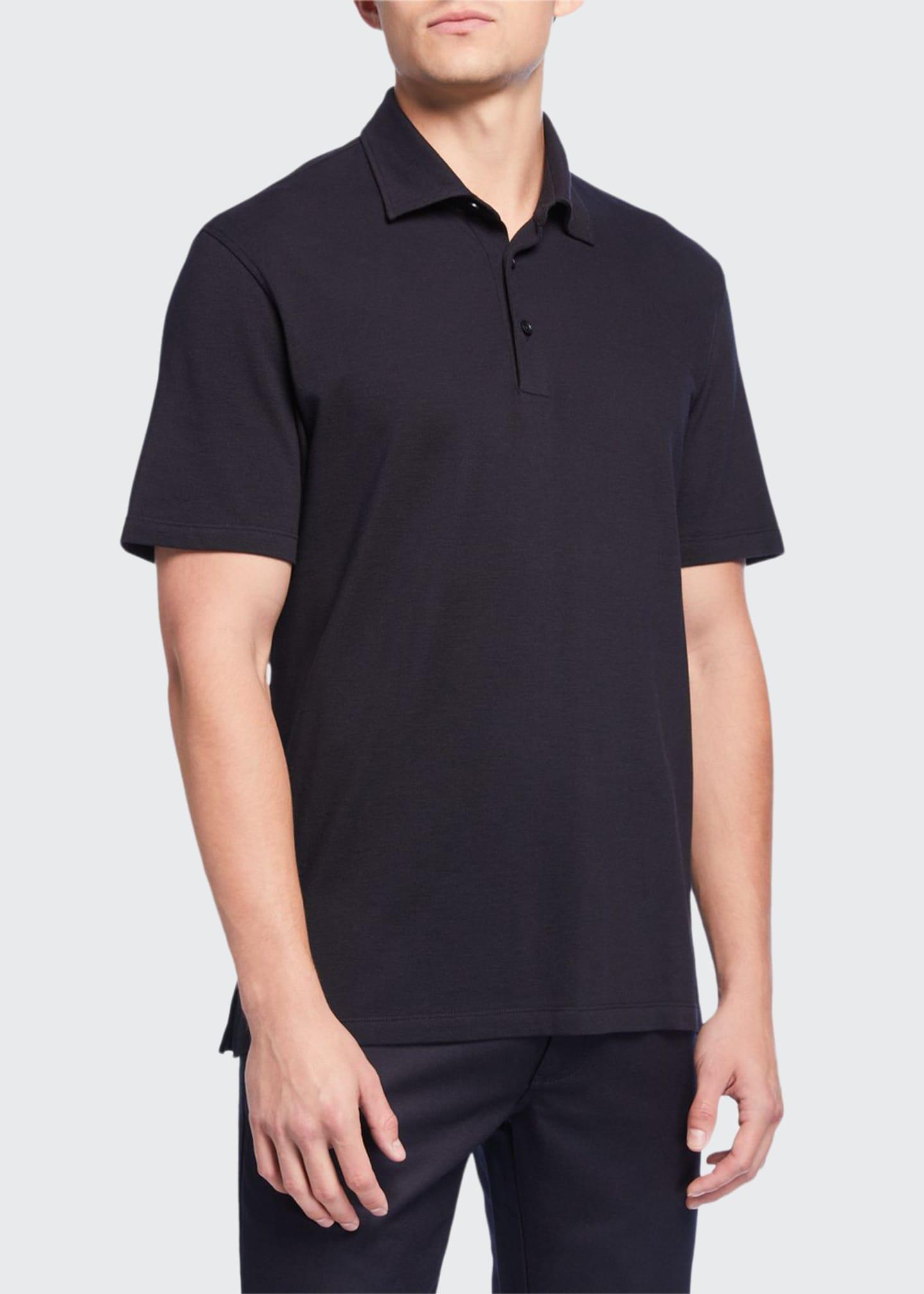 Ermenegildo Zegna Men's Pique Polo Shirt, Navy/Black
