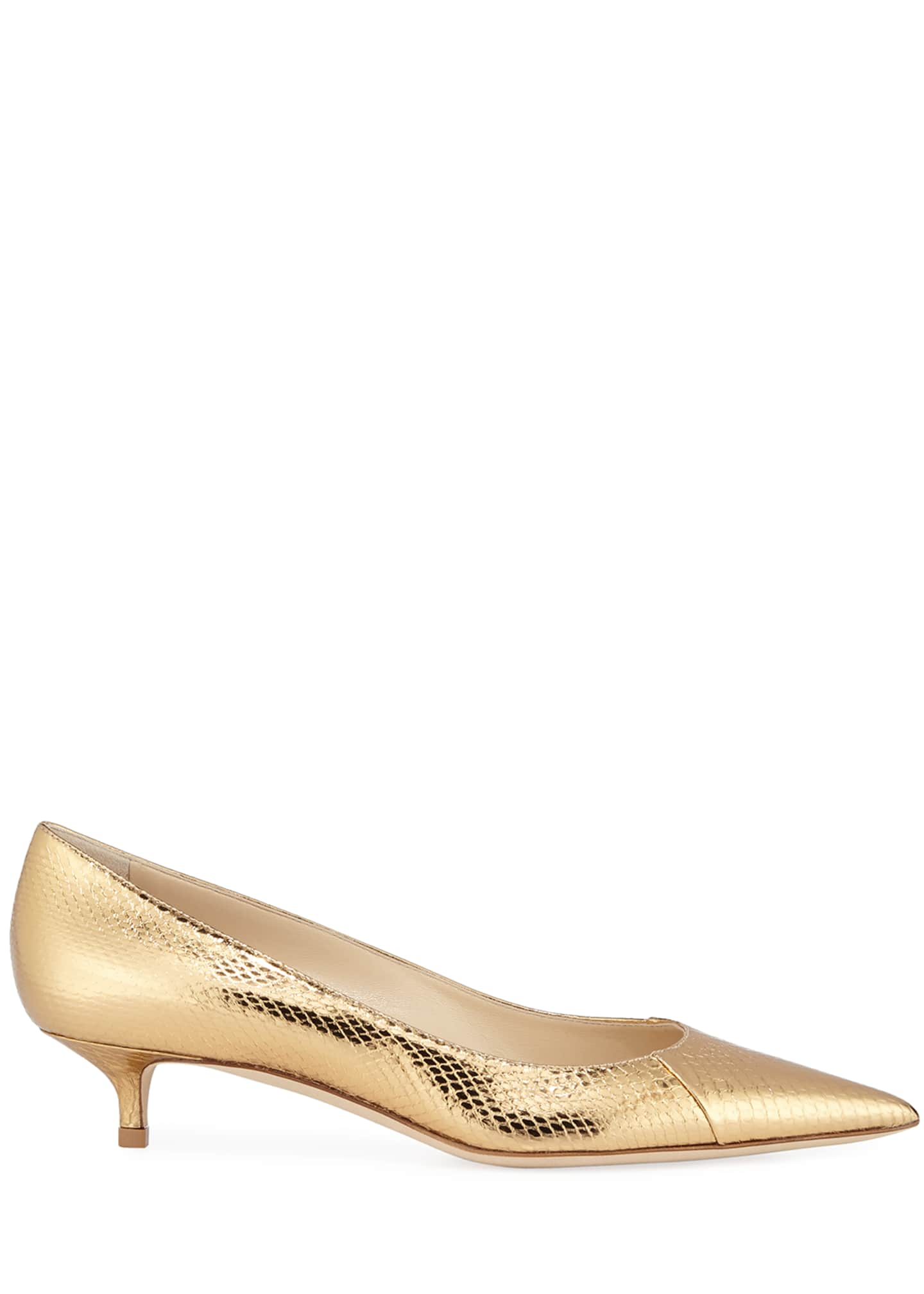 Image 2 of 3: Amelia Snake-Embossed Metallic Pointed Pumps