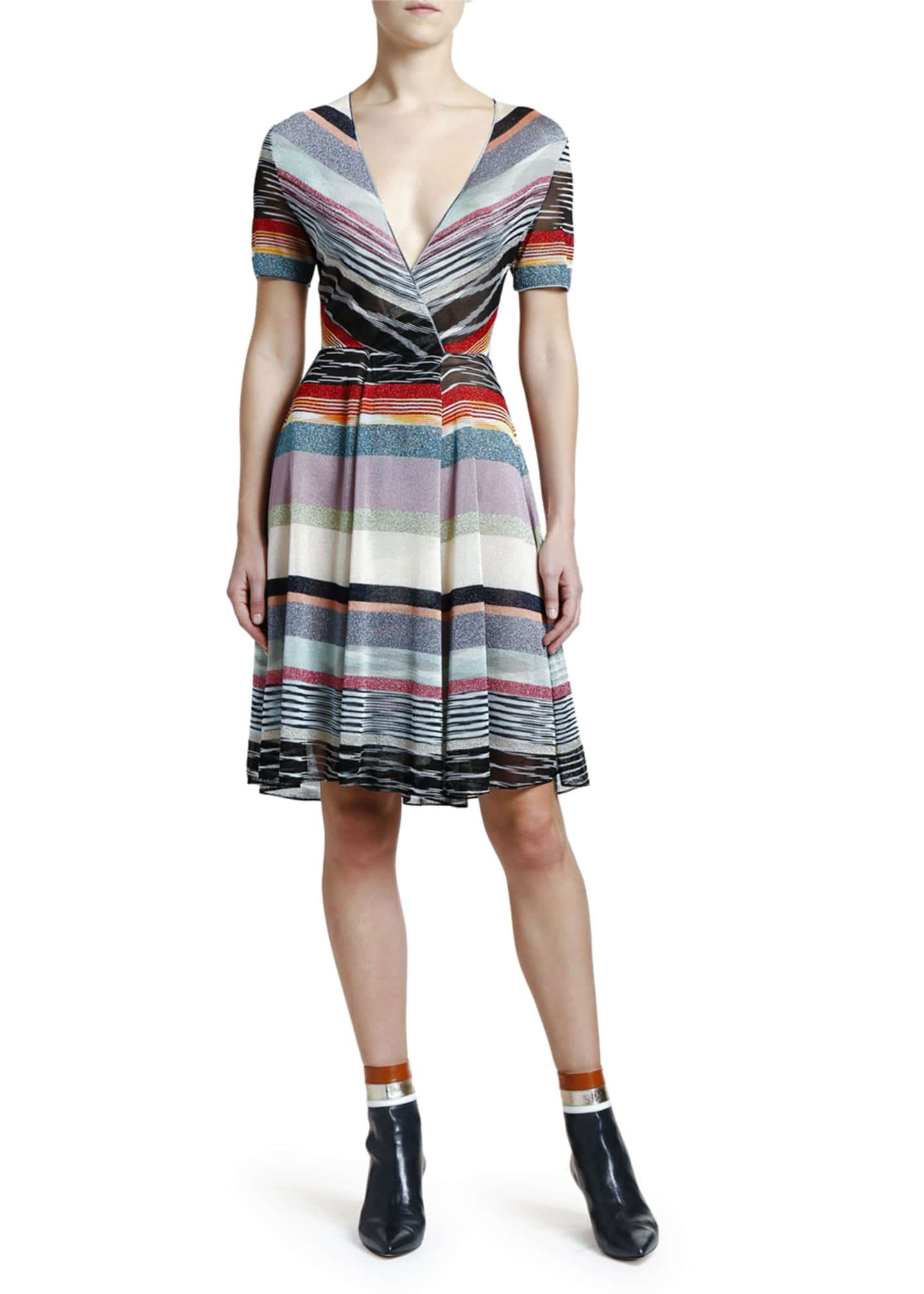 Missoni Shimmer-Striped V-Neck Dress
