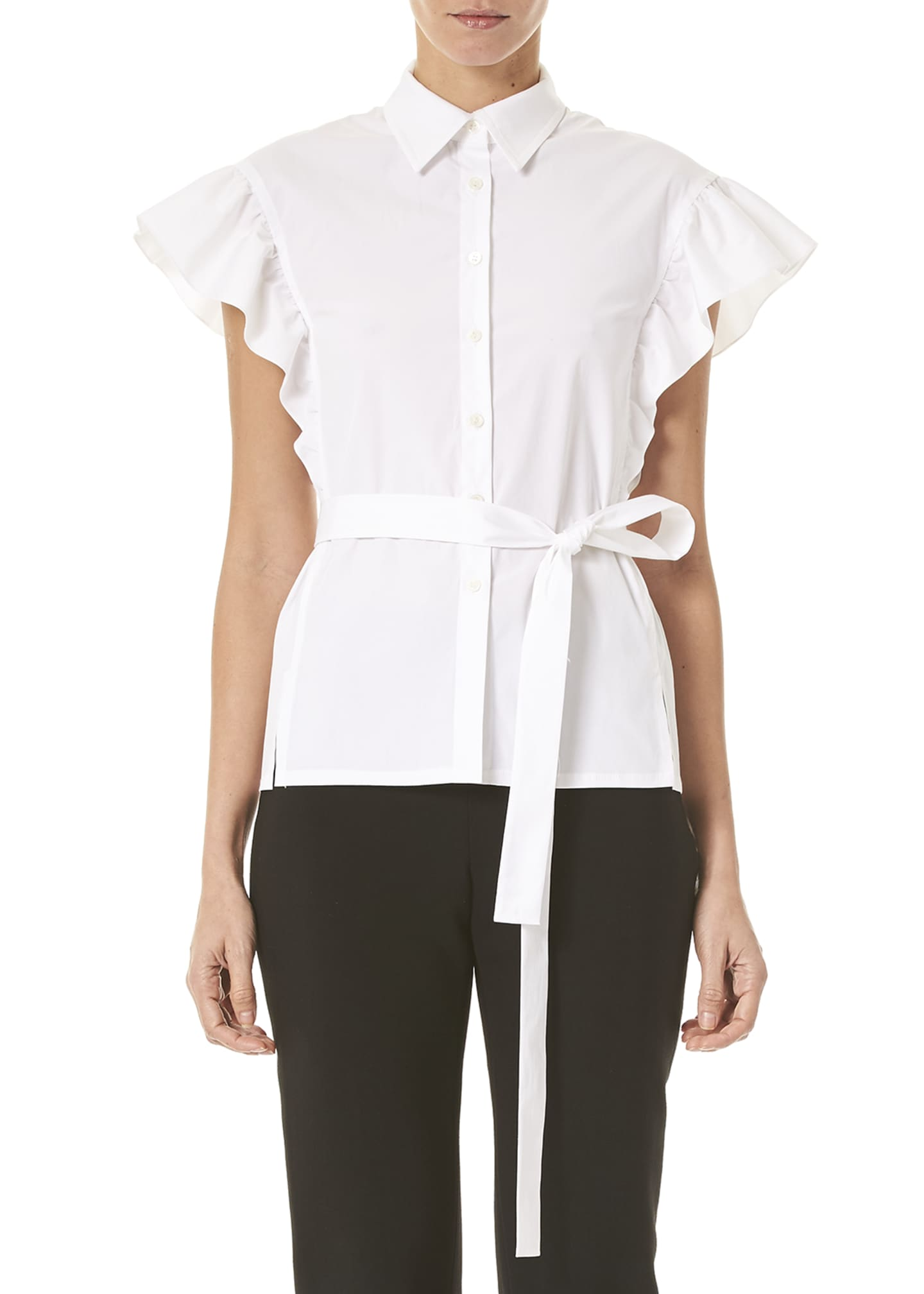 Carolina Herrera Flutter-Sleeve Button-Front Shirt