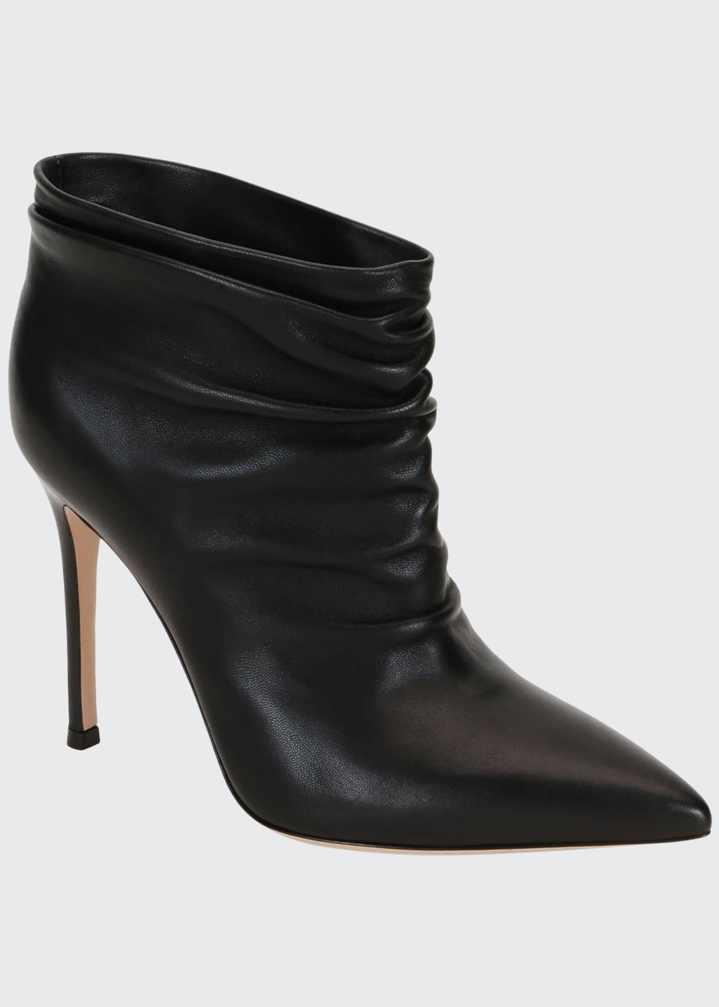 Pointed Slouchy Leather Booties by Gianvito Rossi