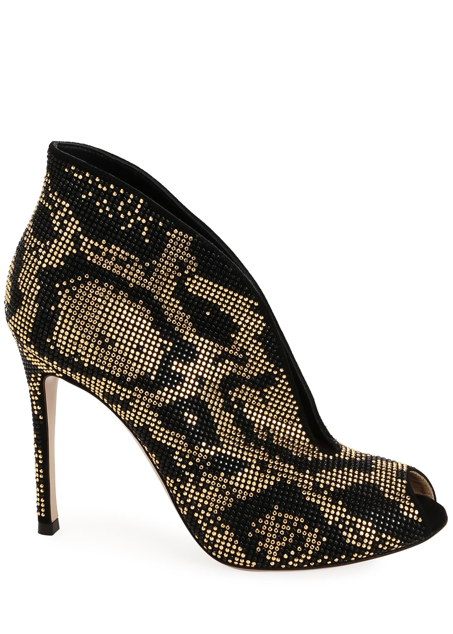 Image 2 of 3: Leopard Beaded V-Neck Booties