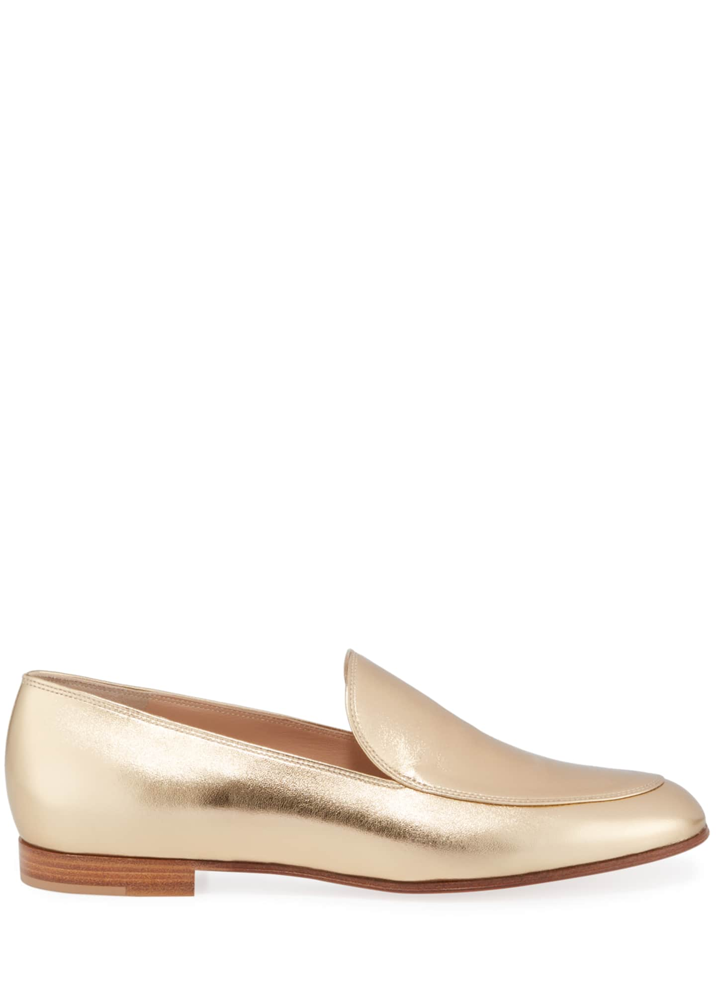 Image 2 of 3: Metallic Leather Flat Loafers