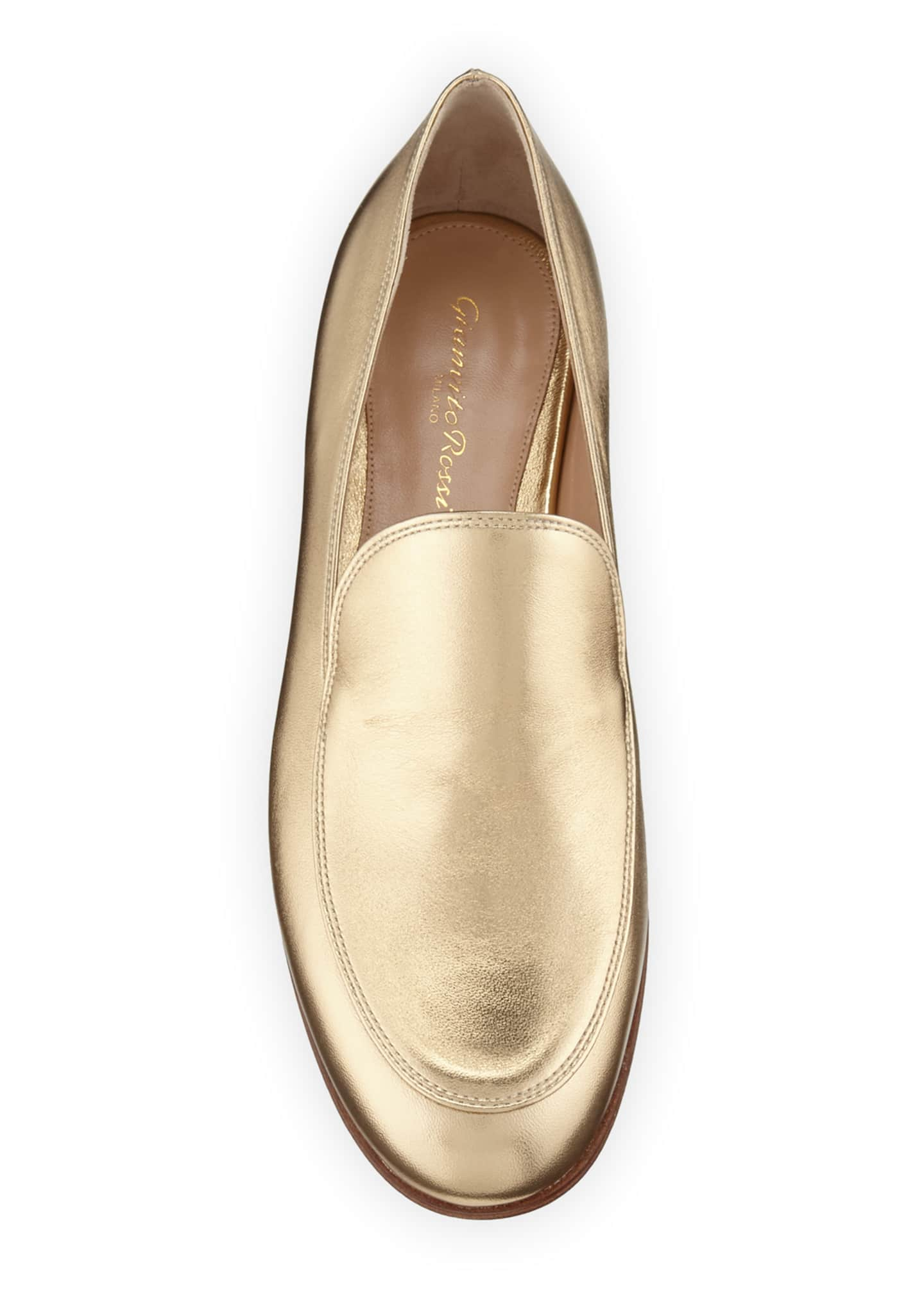 Image 3 of 3: Metallic Leather Flat Loafers