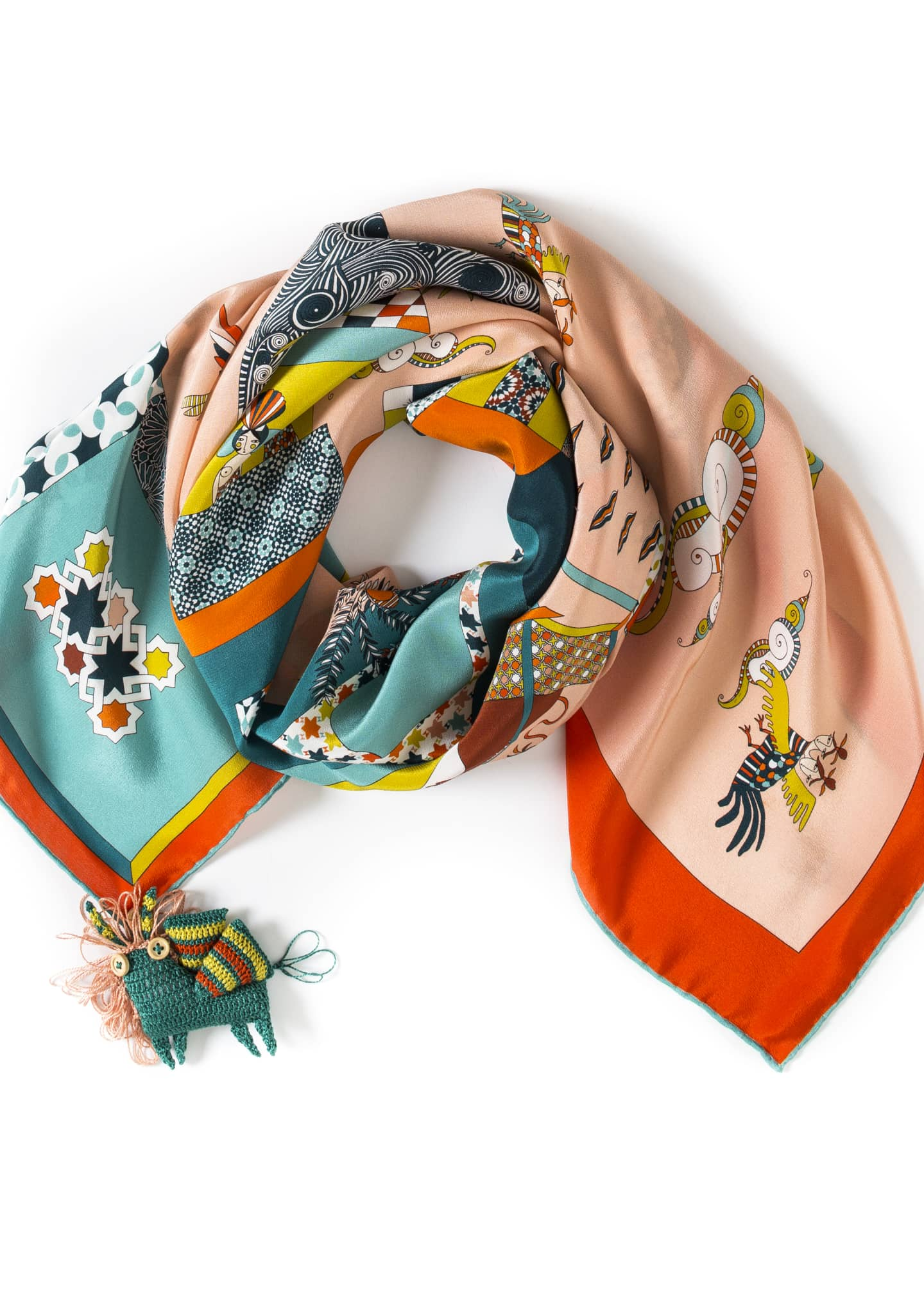 rumisu An Oriental Illusion Printed Small Silk Scarf