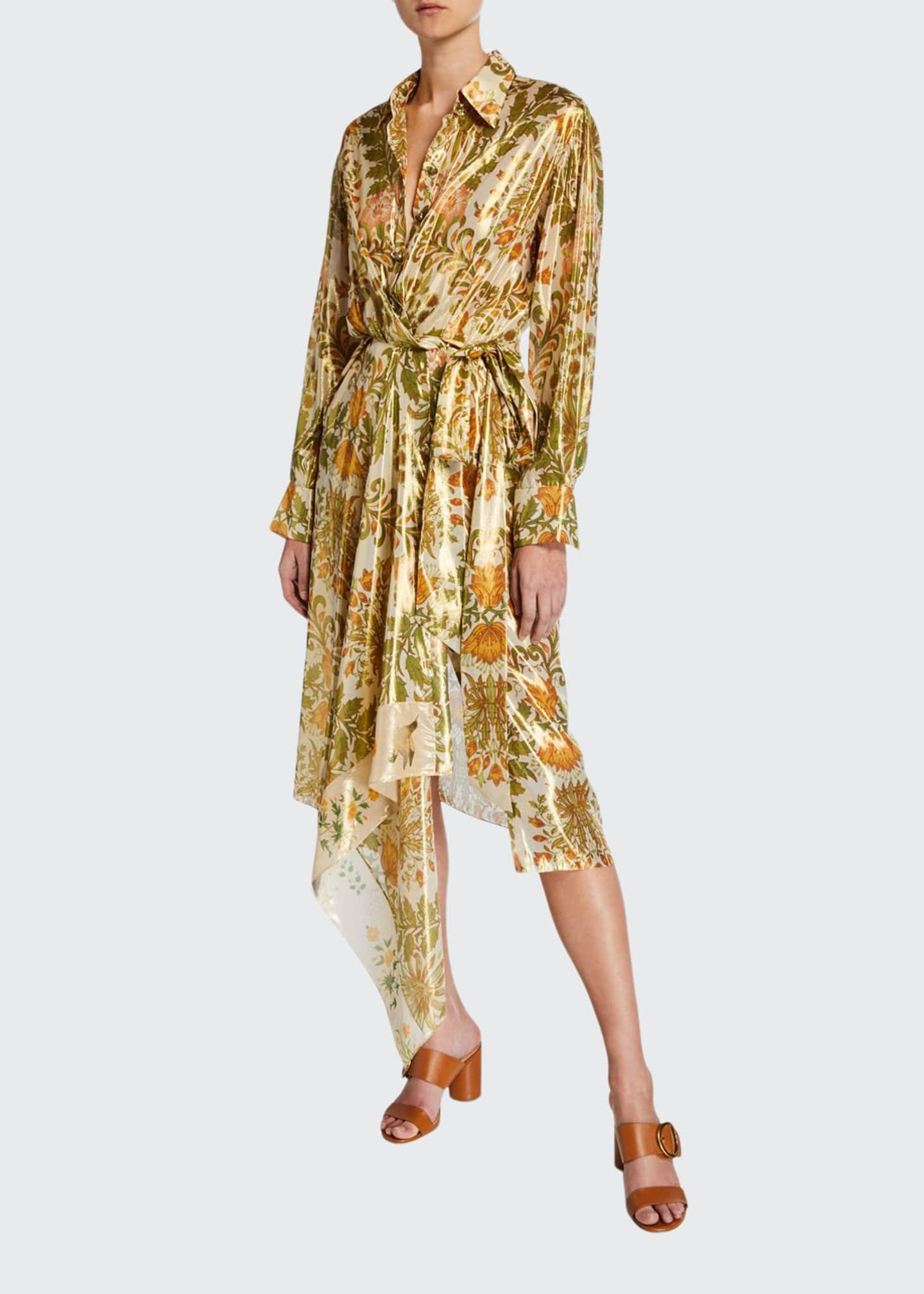Oscar de la Renta Brocade Print Asymmetric Shirtdress