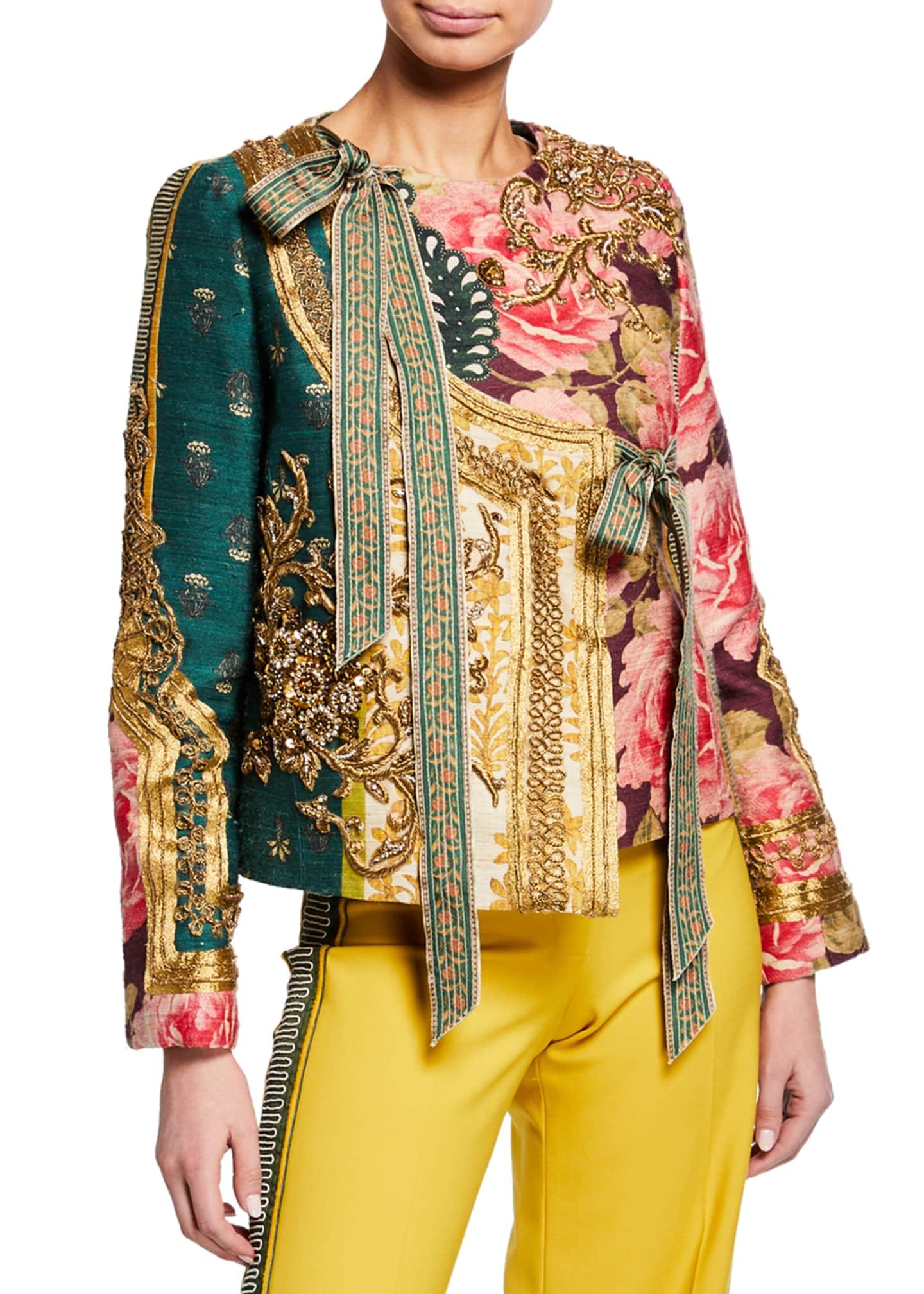 Oscar de la Renta Golden-Embroidered Patchwork Tussah Jacket